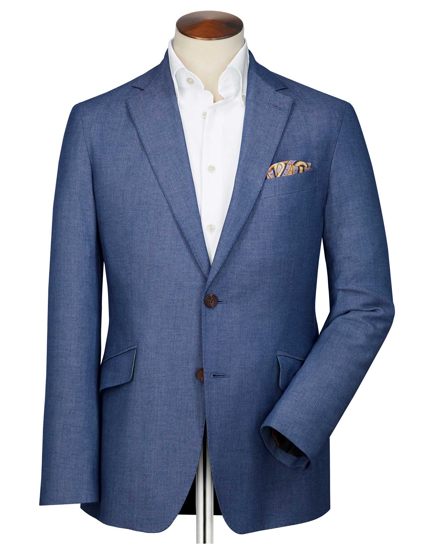 Slim Fit Light Blue Italian Wool Wool Blazer Size 36 Regular by Charles Tyrwhitt