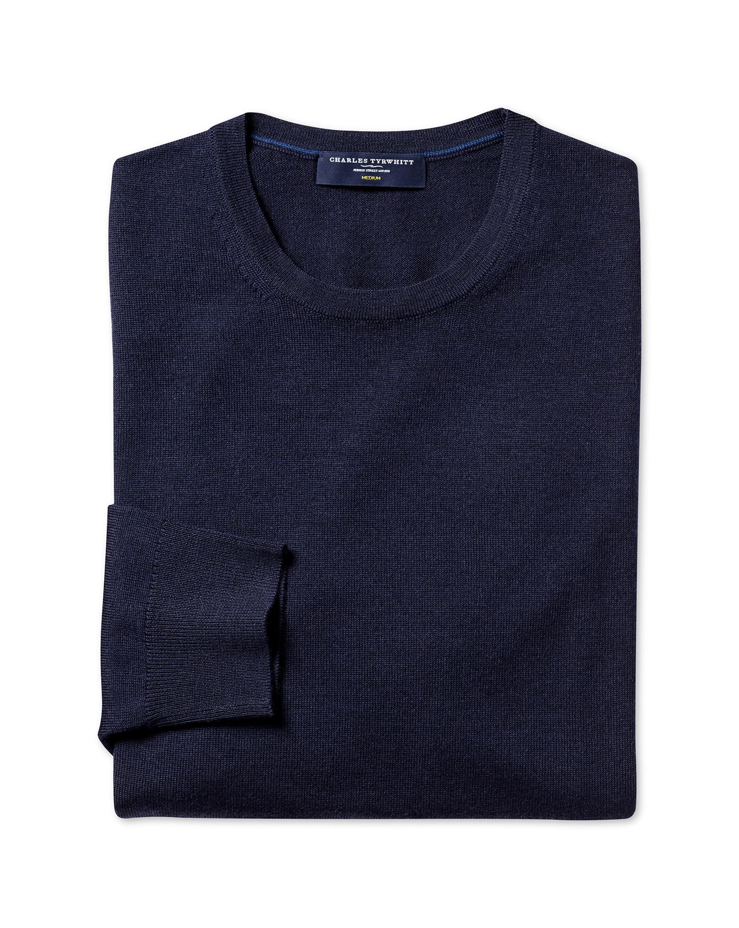 Navy Merino Wool Crew Neck Jumper Size XS by Charles Tyrwhitt