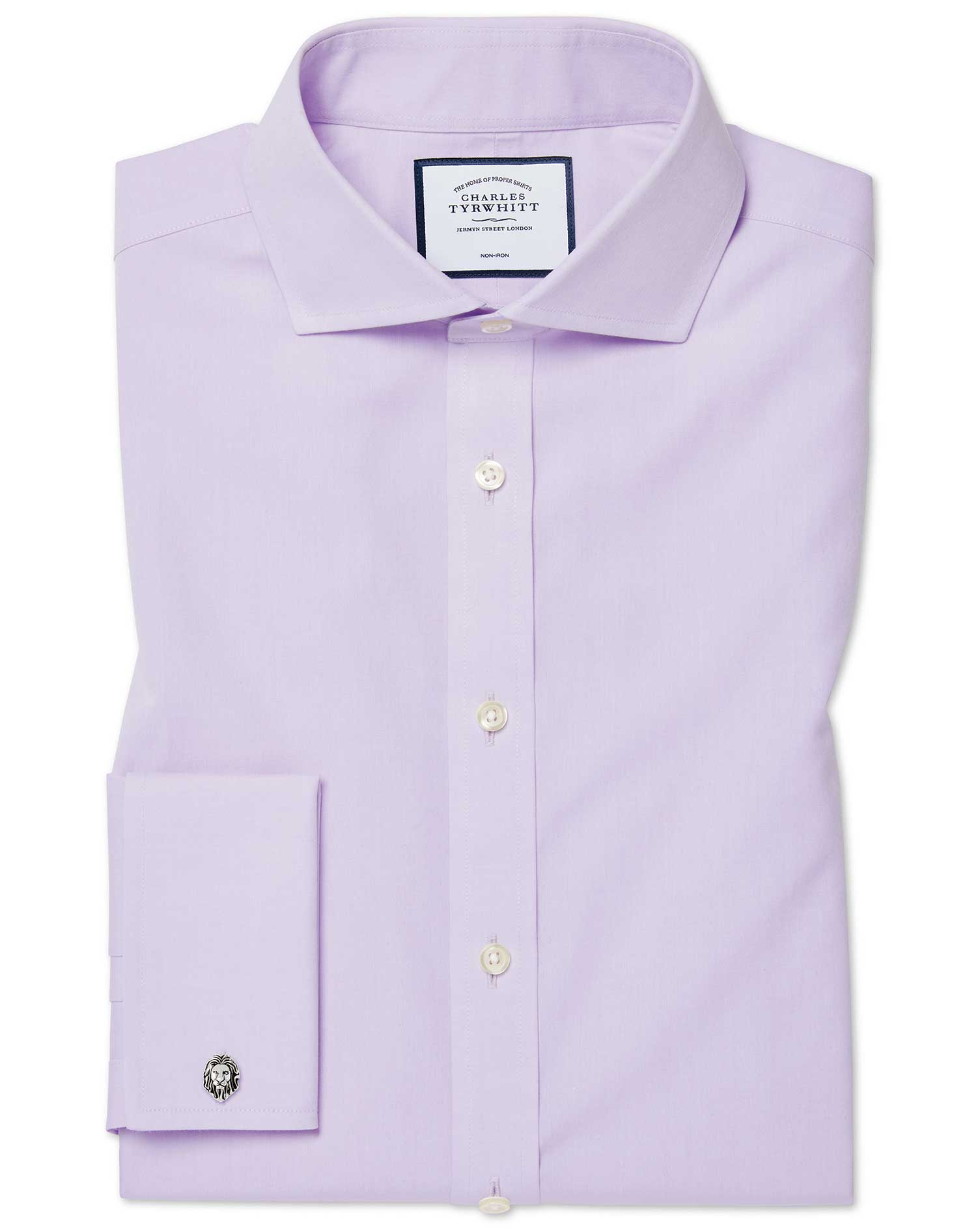Extra Slim Fit Non-Iron Cutaway Collar Poplin Lilac Cotton Formal Shirt Single Cuff Size 15/33 by Ch