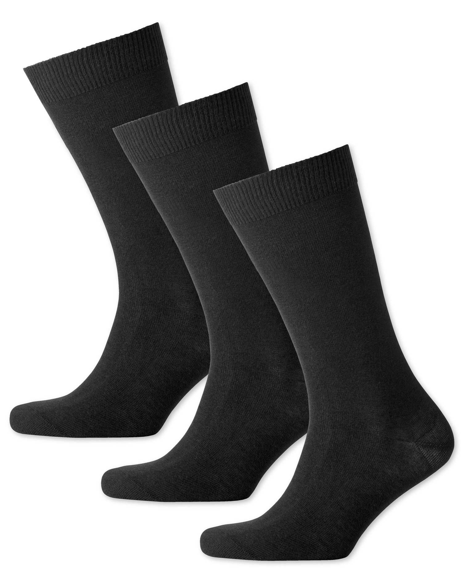 Black Cotton Rich 3 Pack Socks Size Large by Charles Tyrwhitt