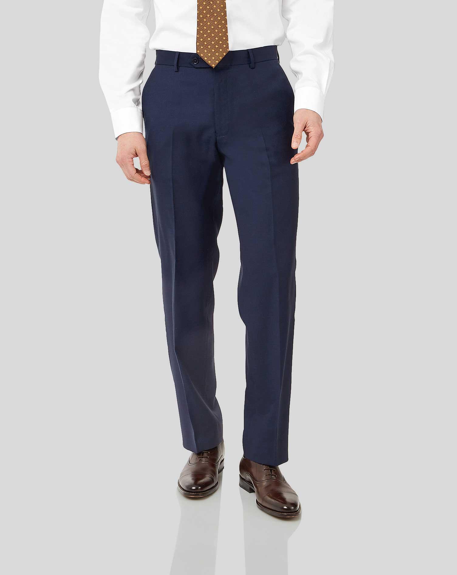 Wool Ink Blue Classic Fit Birdseye Travel Suit Trousers