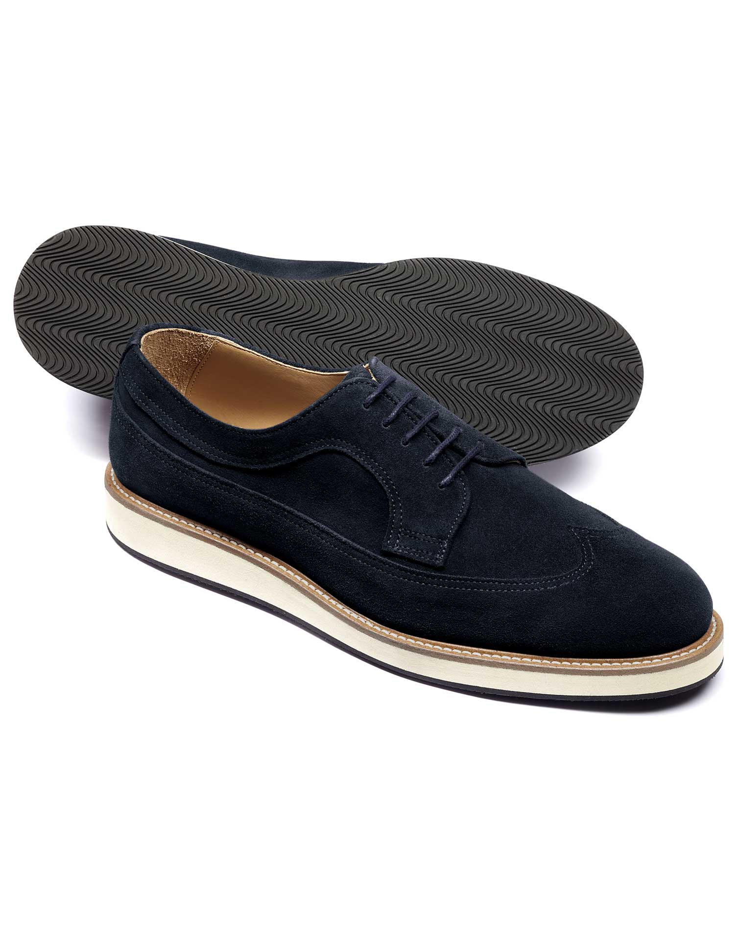 Navy Suede Lightweight Winged Derby Shoe Size 13 R by Charles Tyrwhitt