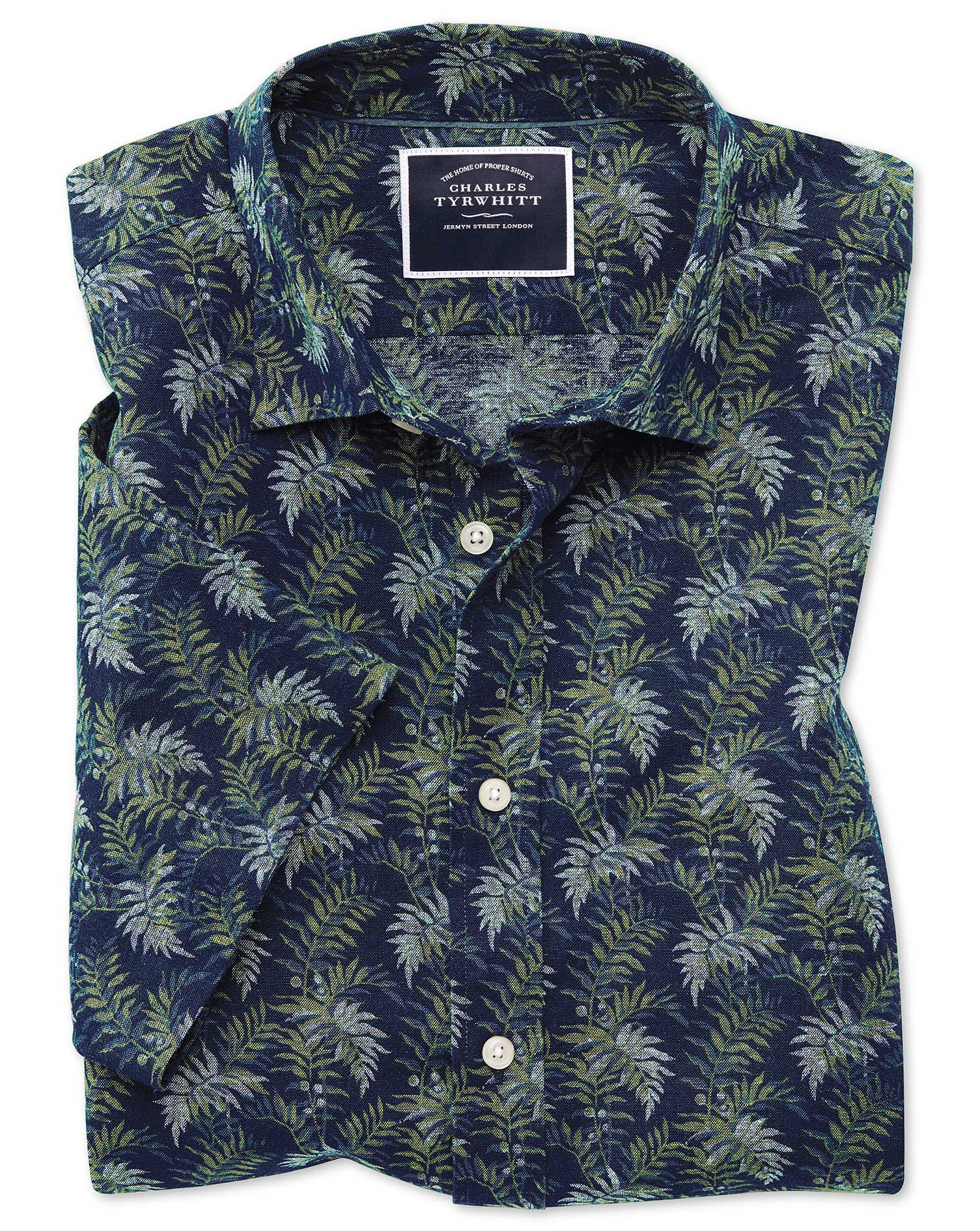 Slim Fit Leaf Print Navy and Green Short Sleeve Linen Cotton Shirt Single Cuff Size XS by Charles Ty