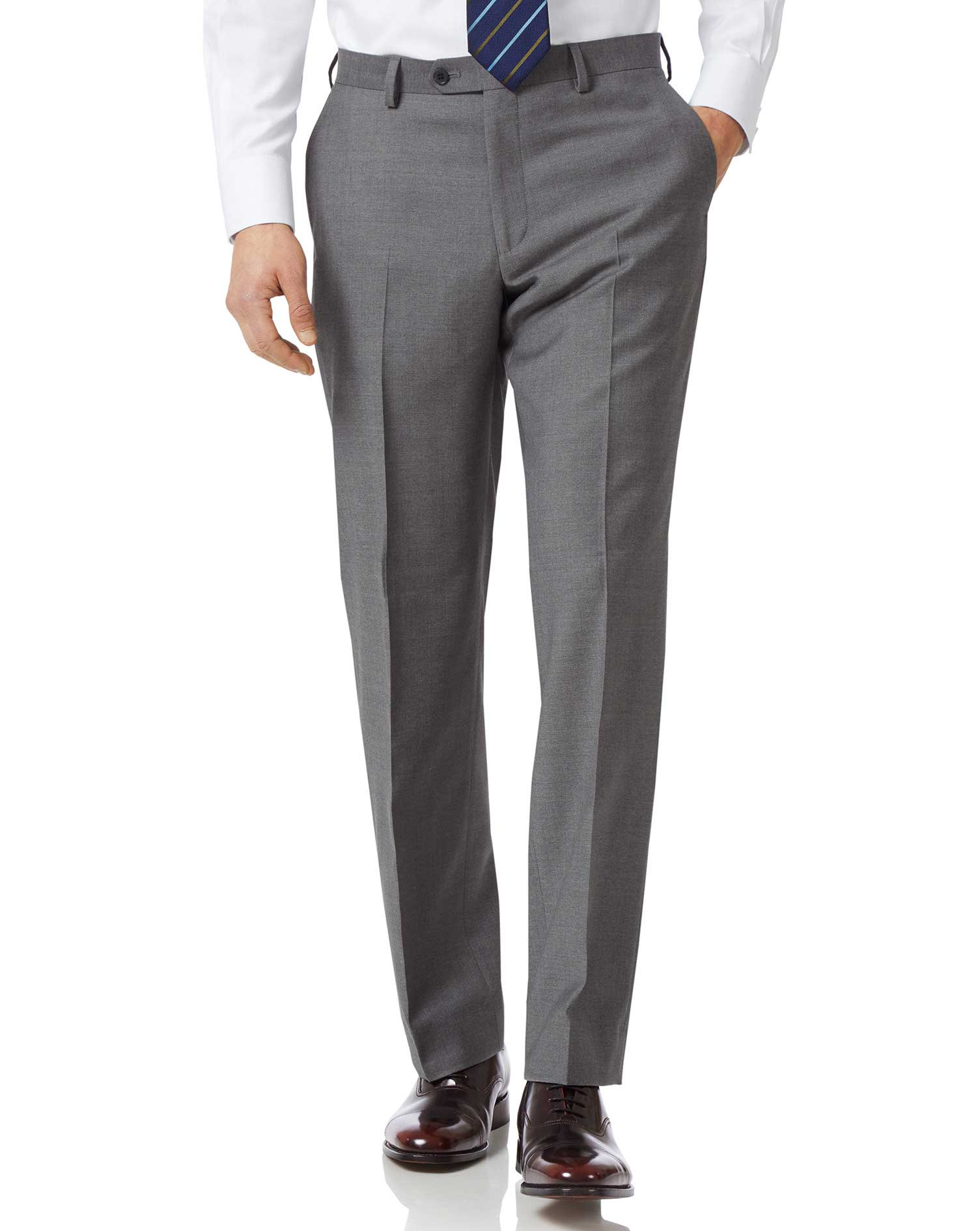 Grey Classic Fit Twill Business Suit Trousers Size W34 L30 by Charles Tyrwhitt