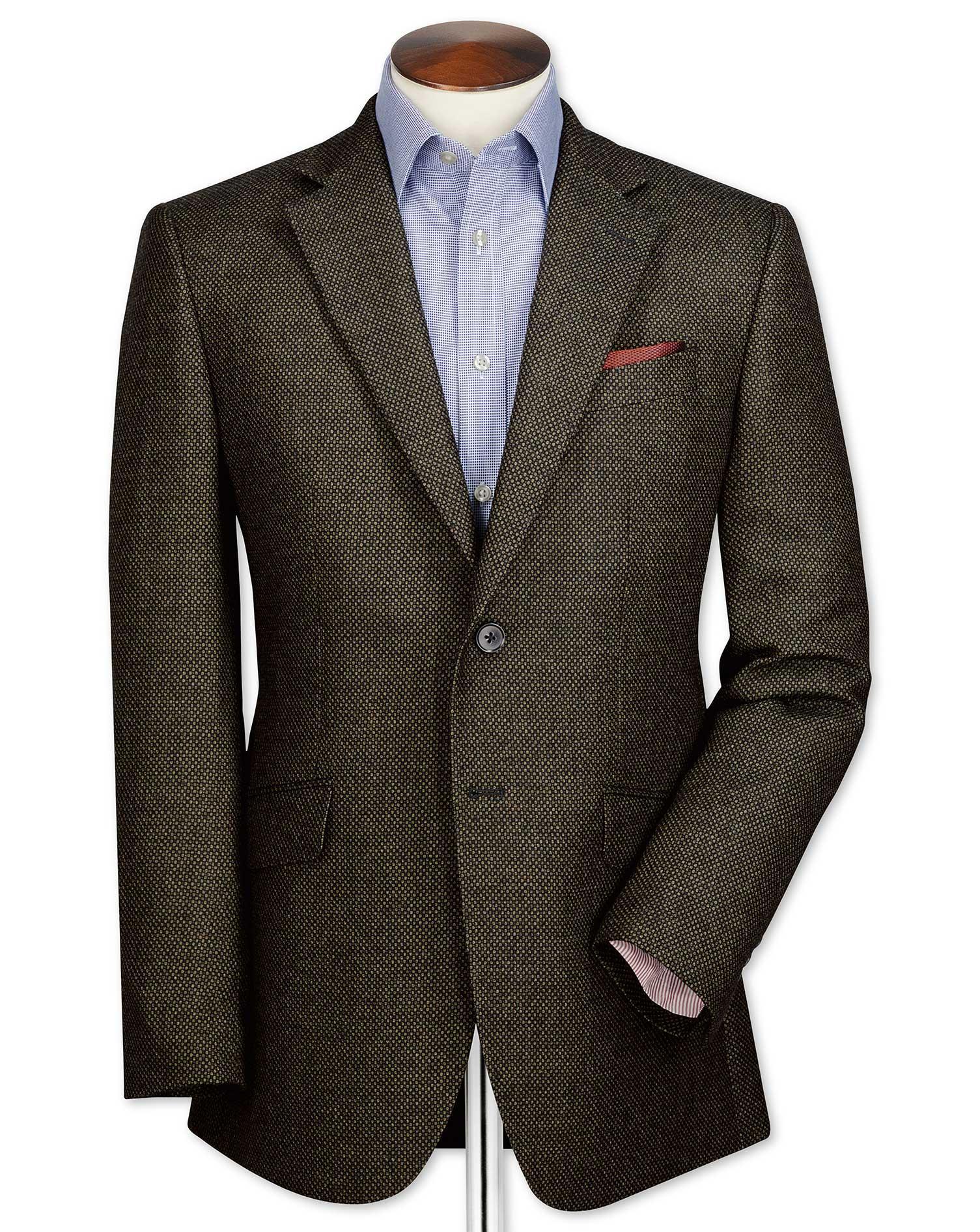Classic Fit Olive Birdseye Lambswool Wool Jacket Size 38 Long by Charles Tyrwhitt