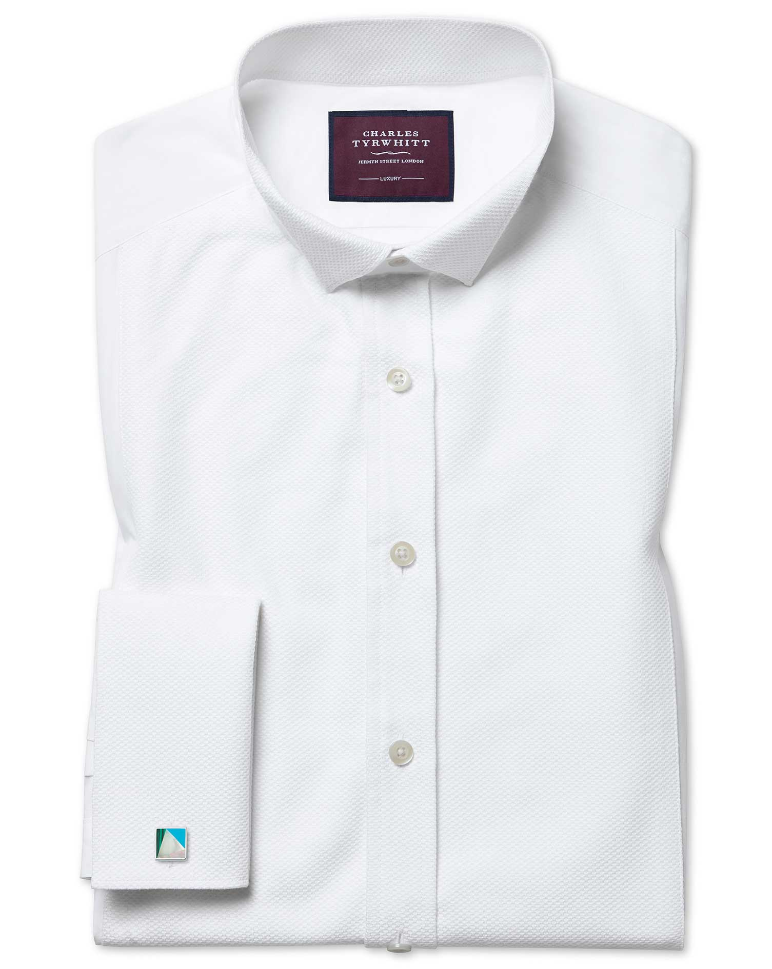 Slim Fit Wing Collar Luxury Marcella Bib Front White Evening Egyptian Cotton Formal Shirt Double Cuf