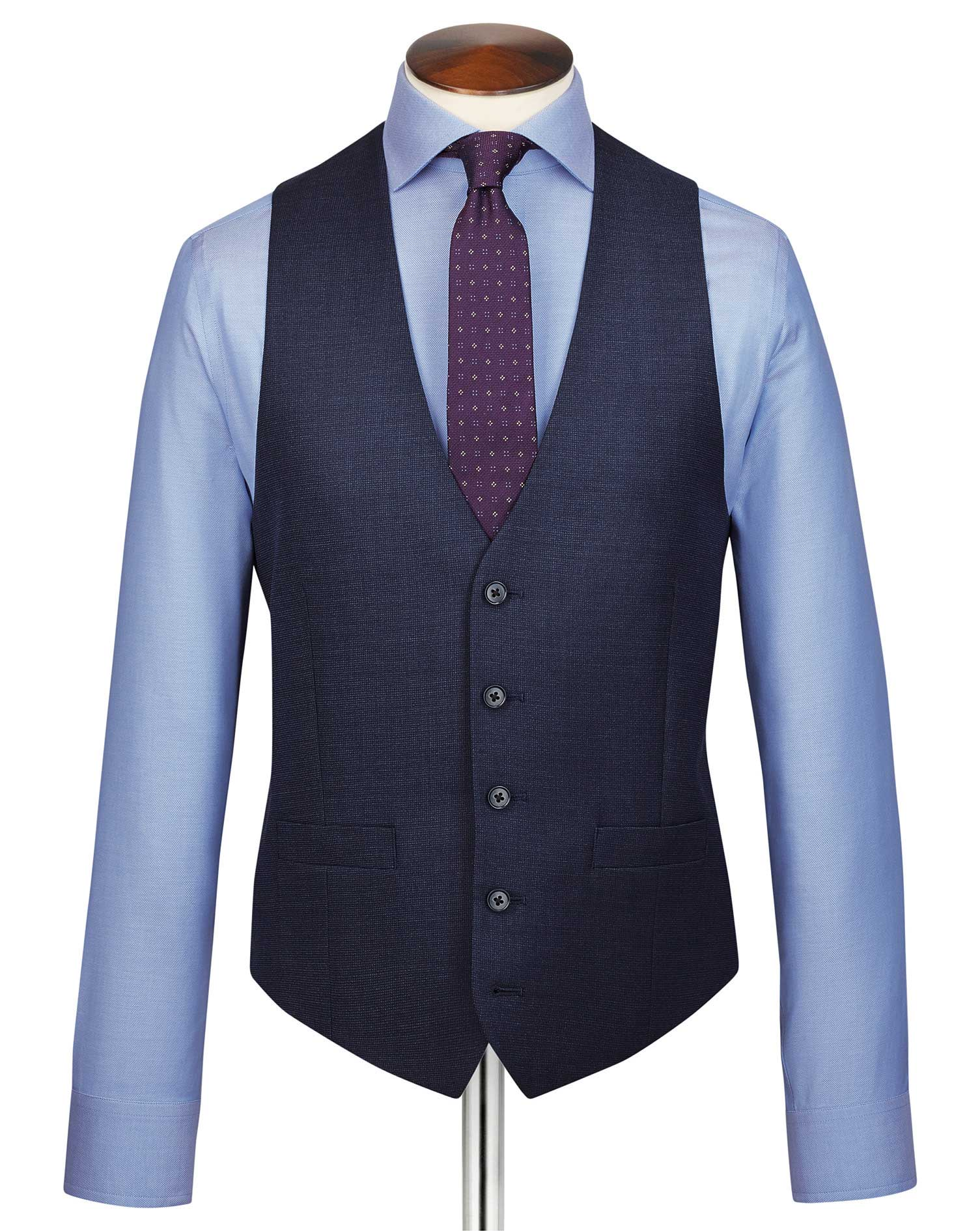 Navy adjustable fit jaspe business suit waistcoat