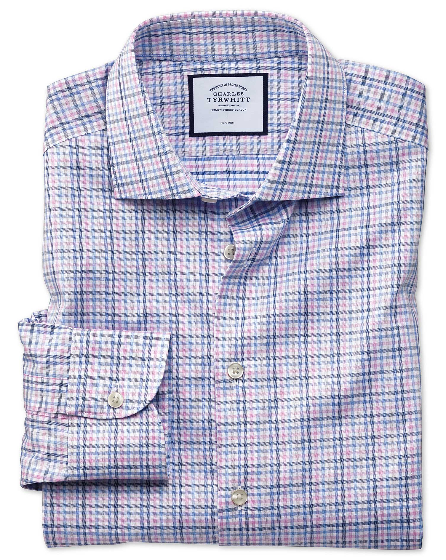 Slim Fit Business Casual Non-Iron Pink and Blue Check Cotton Formal Shirt Single Cuff Size 17/36 by