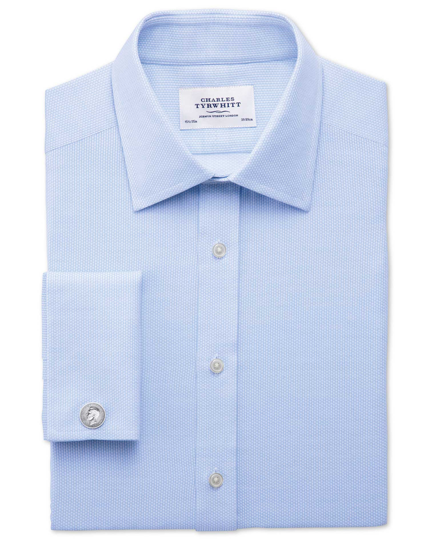 Slim Fit Egyptian Cotton Diamond Texture Sky Blue Formal Shirt Single Cuff Size 18/37 by Charles Tyr