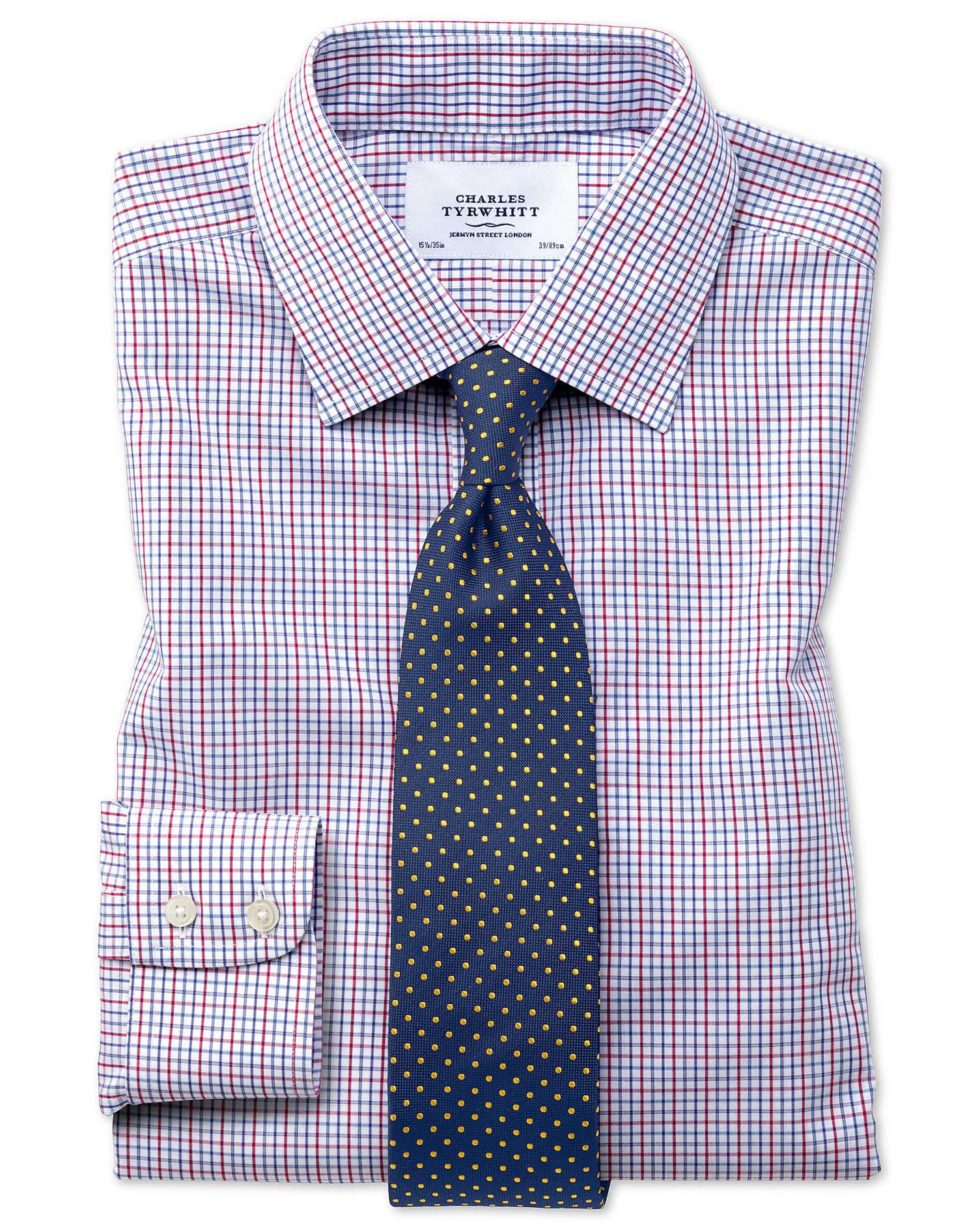 Classic fit non iron grid check multi shirt charles tyrwhitt for What is a non iron shirt