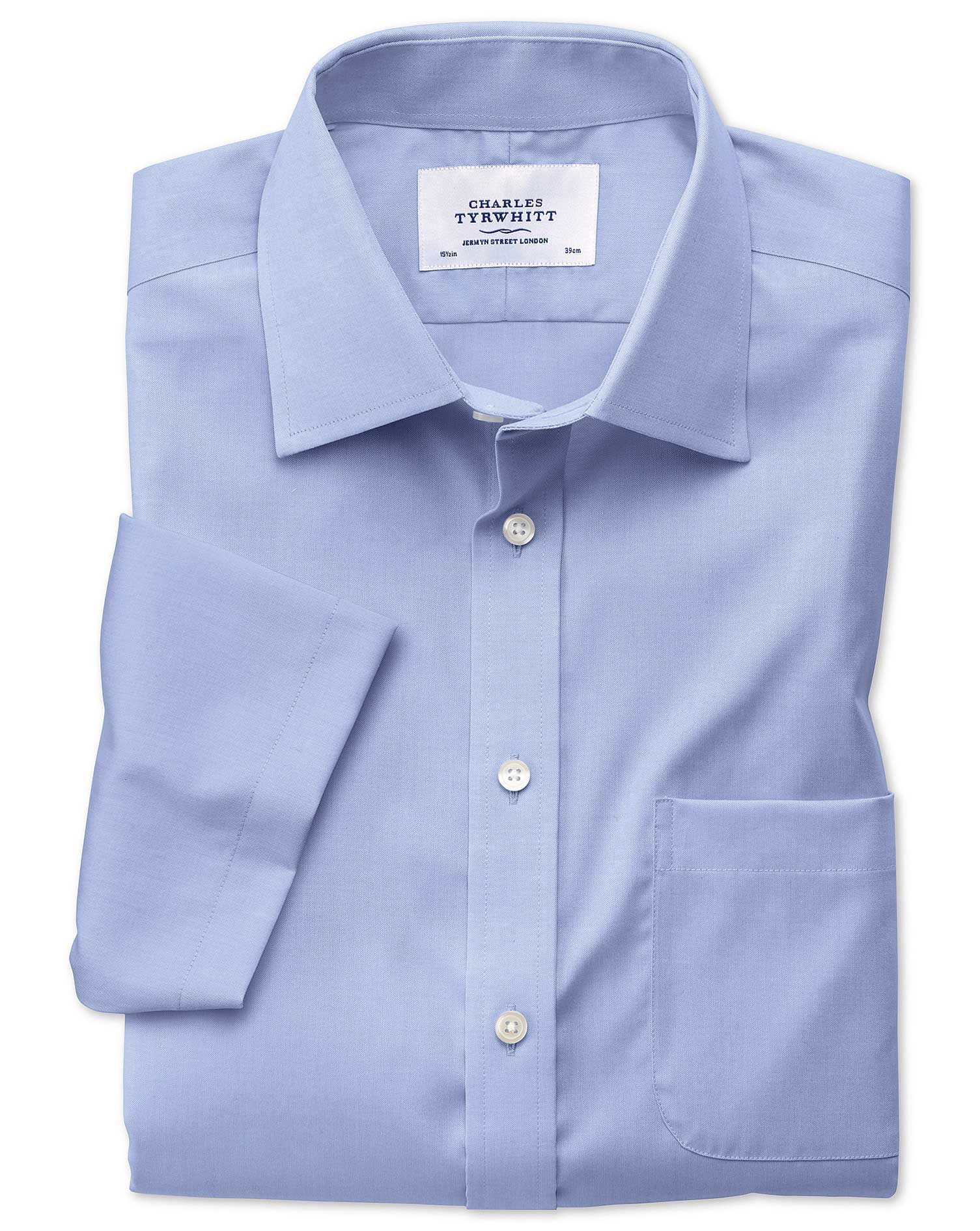 Classic Fit Non-Iron Pinpoint Short Sleeve Sky Blue Cotton Formal Shirt Size 20/Short by Charles Tyr