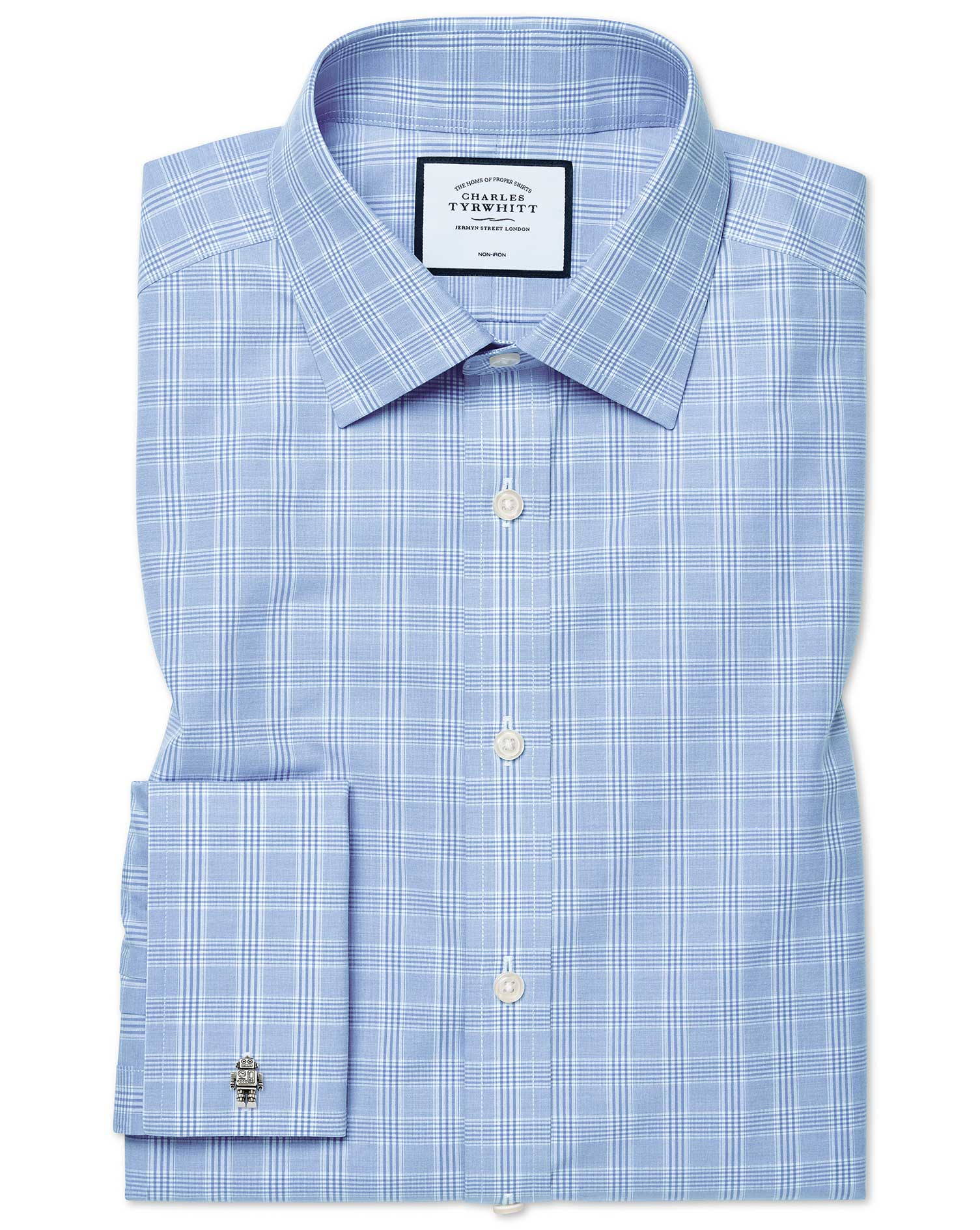 Classic Fit Non-Iron Sky Blue Prince Of Wales Check Cotton Formal Shirt Double Cuff Size 15.5/34 by