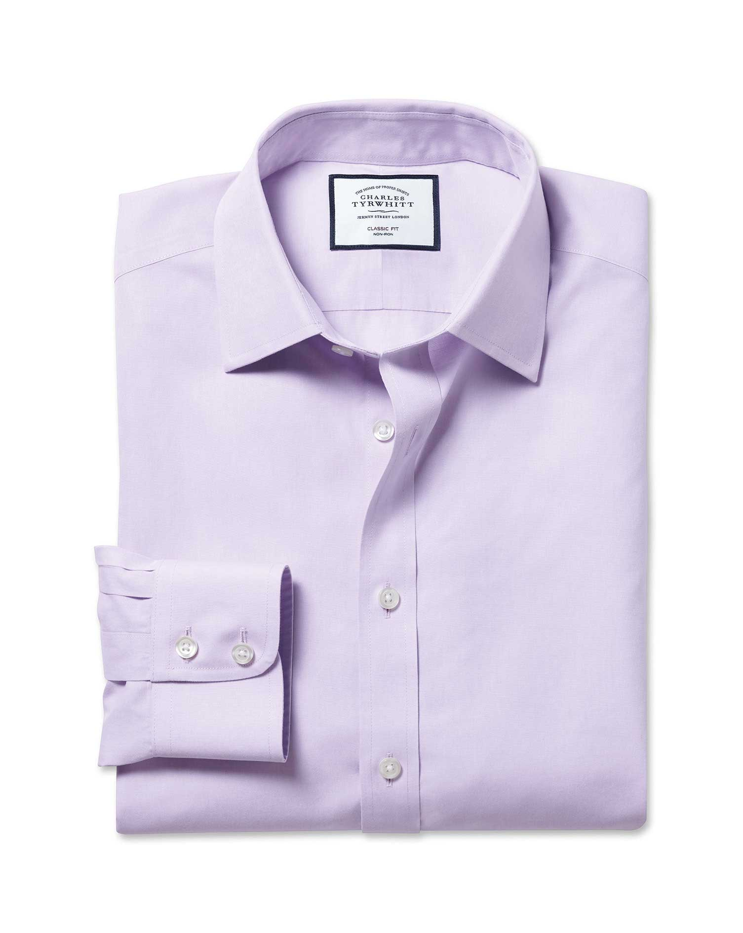 Classic Fit Non-Iron Poplin Lilac Cotton Formal Shirt Double Cuff Size 17.5/38 by Charles Tyrwhitt