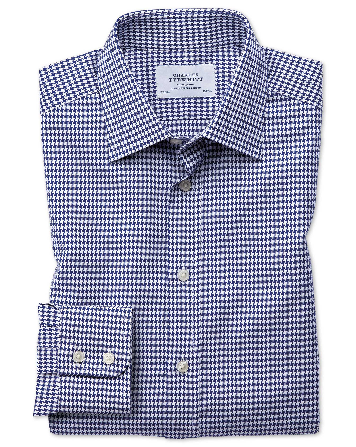 Slim Fit Large Puppytooth Blue Cotton Formal Shirt Single Cuff Size 16/33 by Charles Tyrwhitt