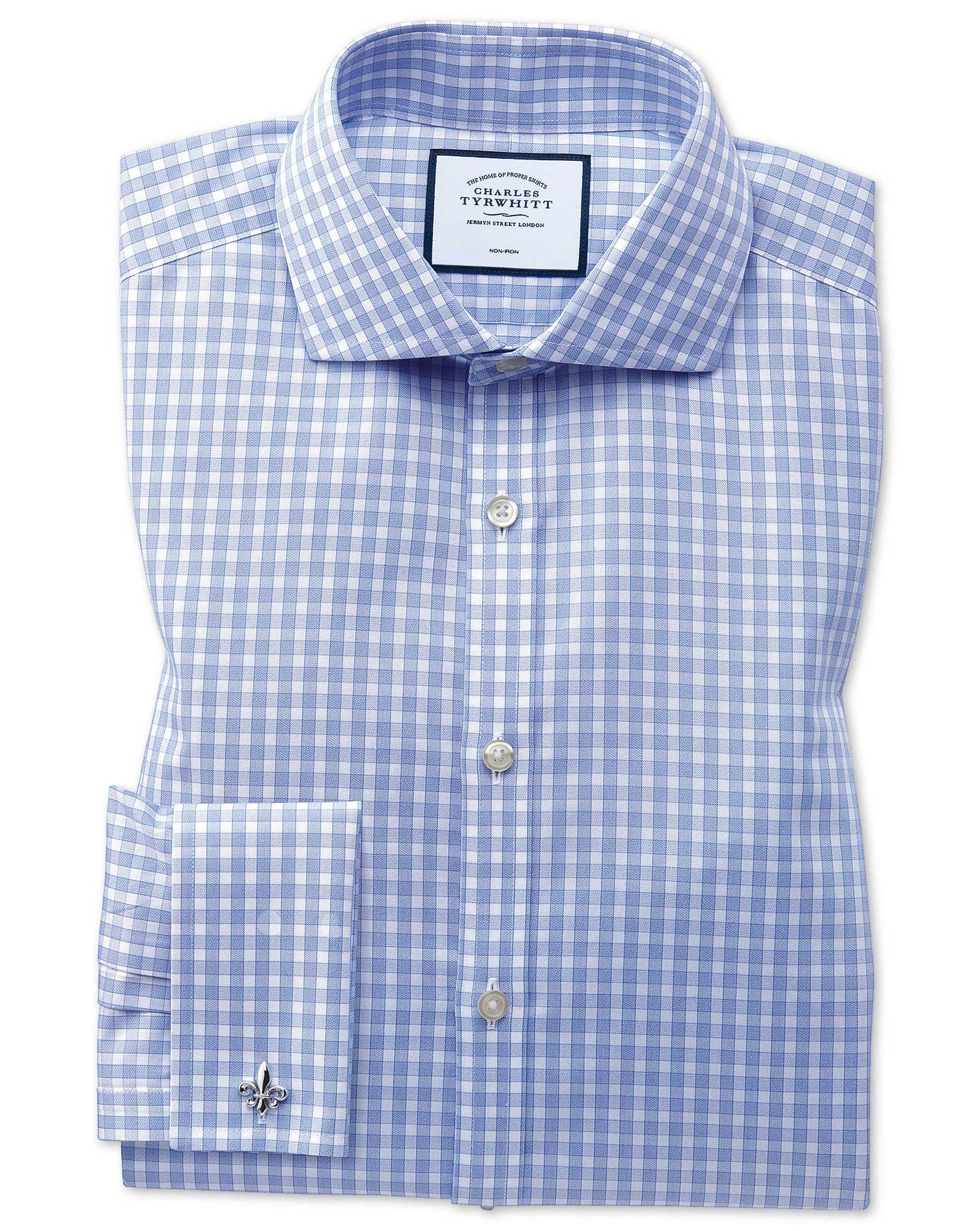 Slim Fit Non-Iron Twill Gingham Sky Blue Cotton Formal Shirt Double Cuff Size 17.5/36 by Charles Tyr