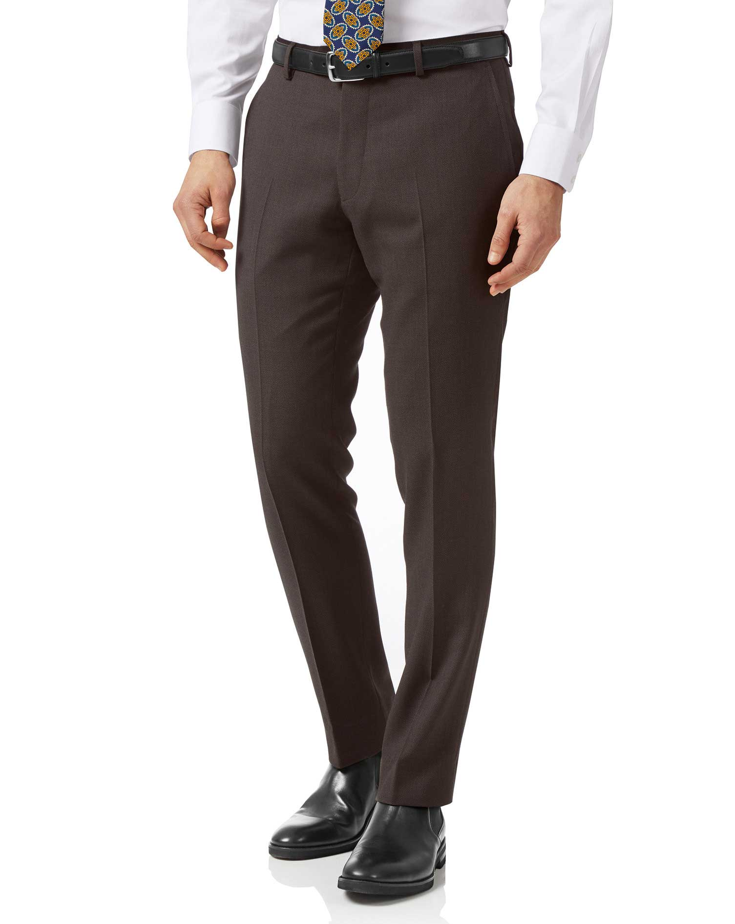 Brown Slim Fit Birdseye Travel Suit Trousers Size W34 L34 by Charles Tyrwhitt