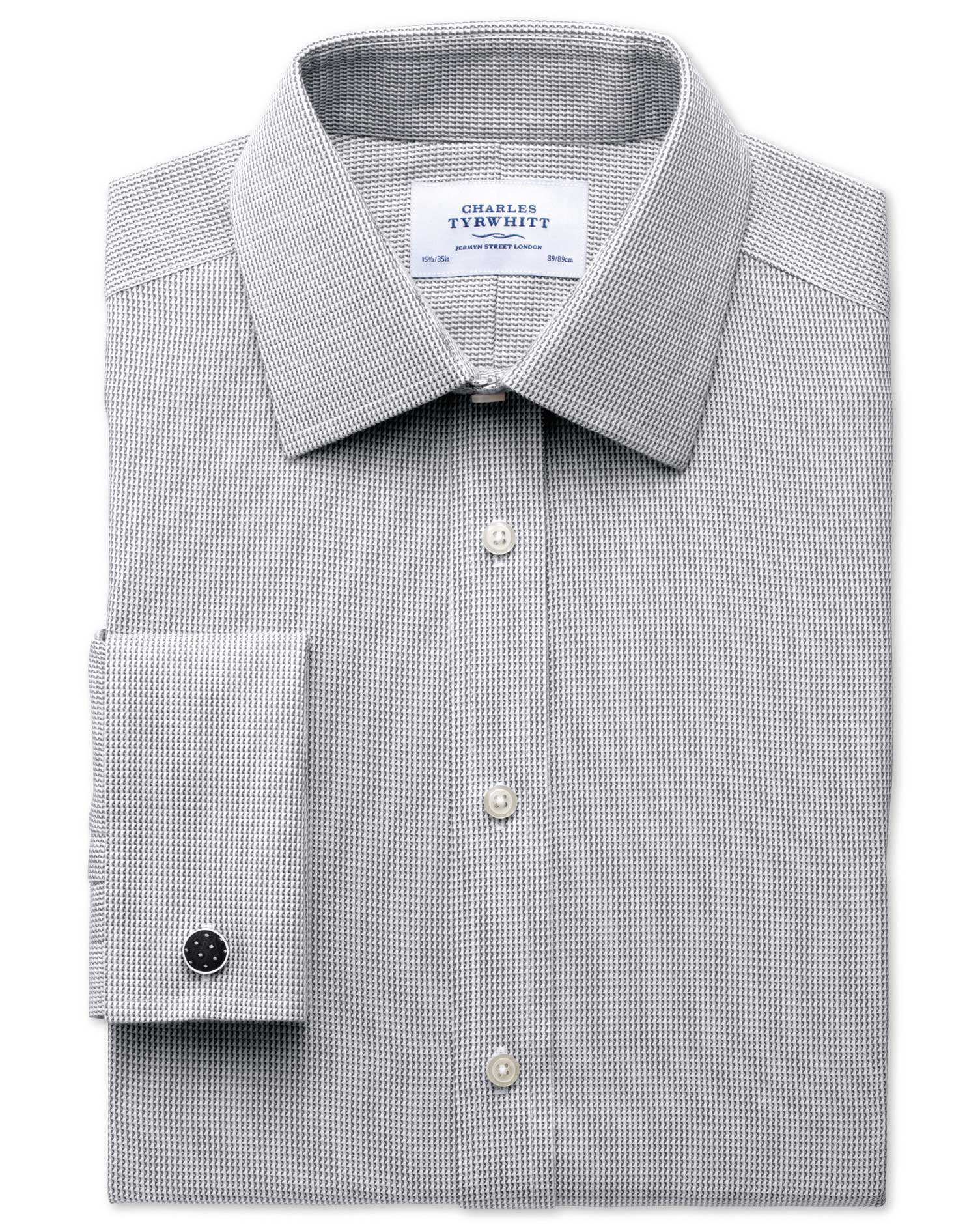 Classic Fit Non-Iron Grey Cotton Formal Shirt Single Cuff Size 15/35 by Charles Tyrwhitt