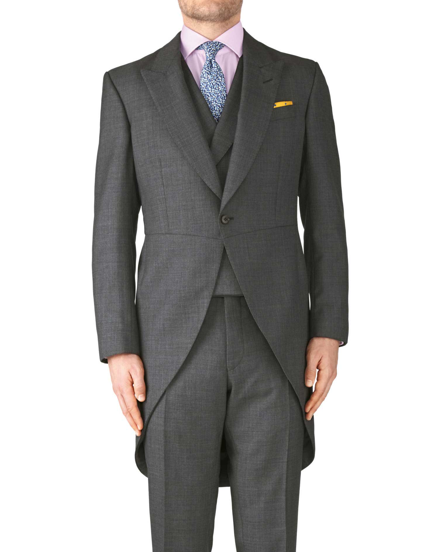 Dark Grey Classic Fit Morning Suit Tail Coat Size 38 Regular by Charles Tyrwhitt