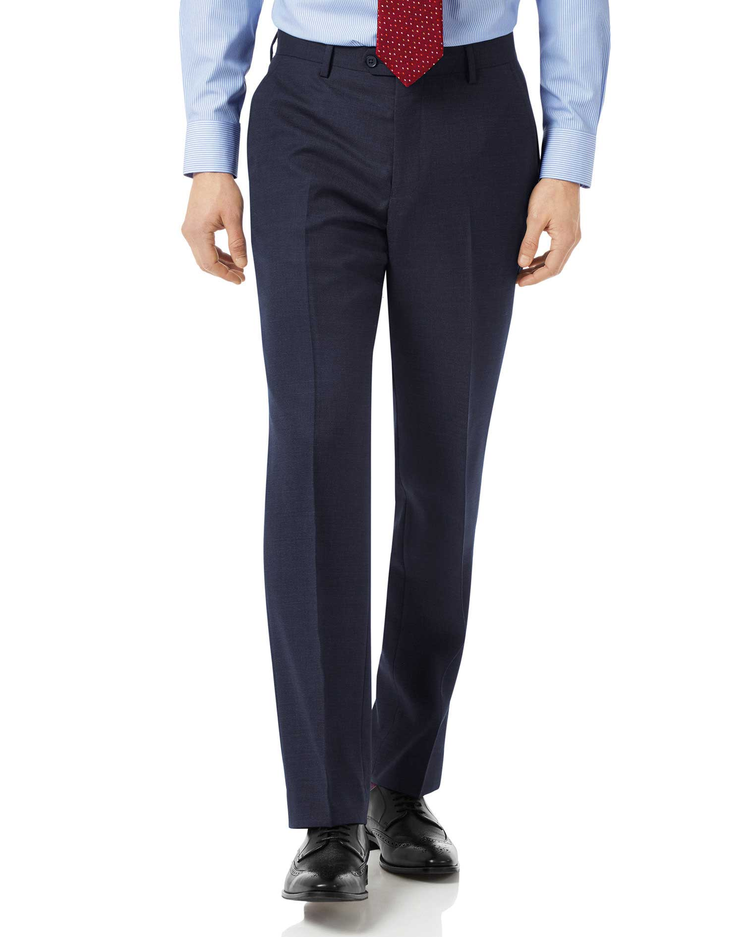 Navy Classic Fit Jaspe Business Suit Trousers Size W32 L34 by Charles Tyrwhitt
