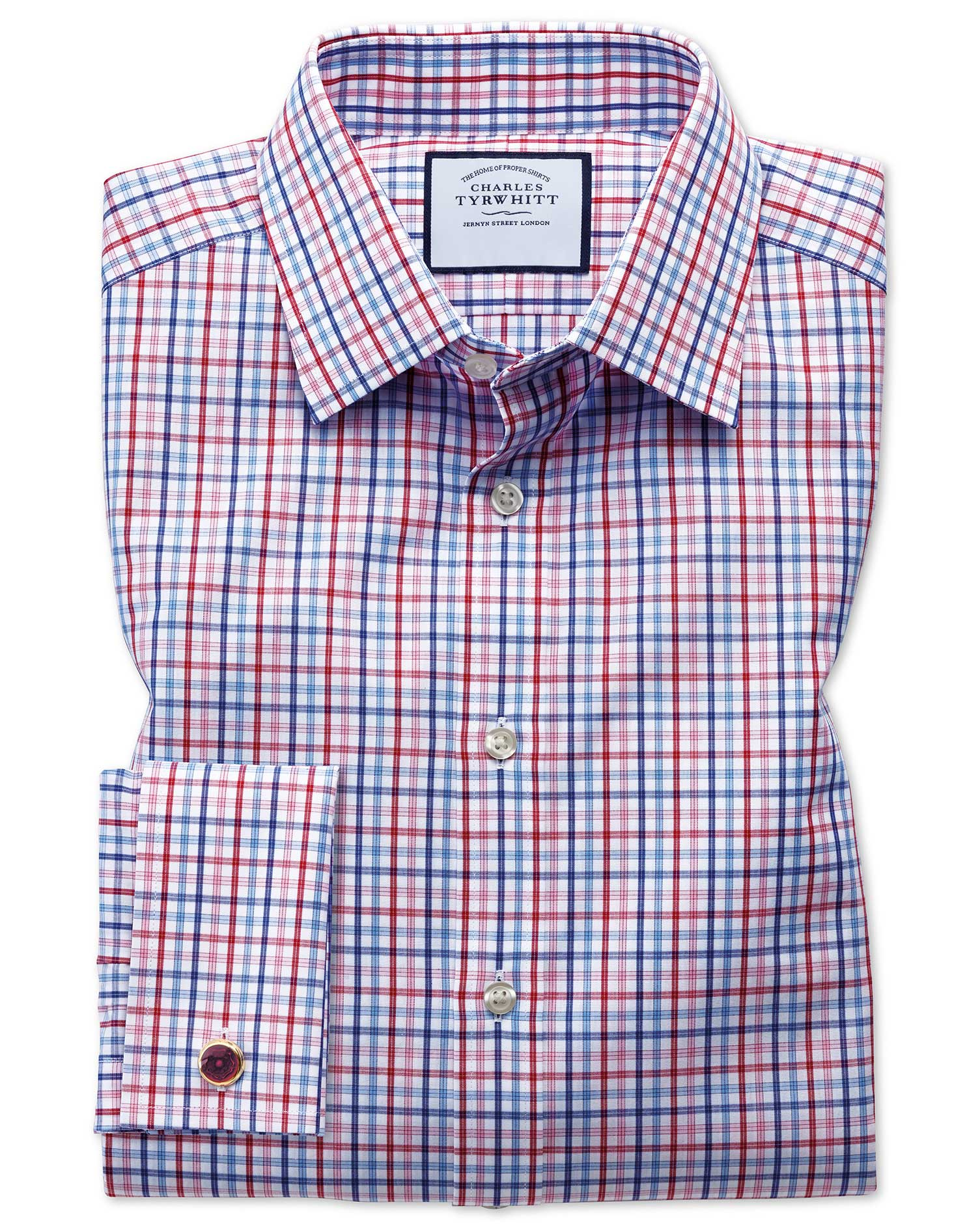 Slim Fit Poplin Multi Red Check Cotton Formal Shirt Double Cuff Size 15.5/32 by Charles Tyrwhitt