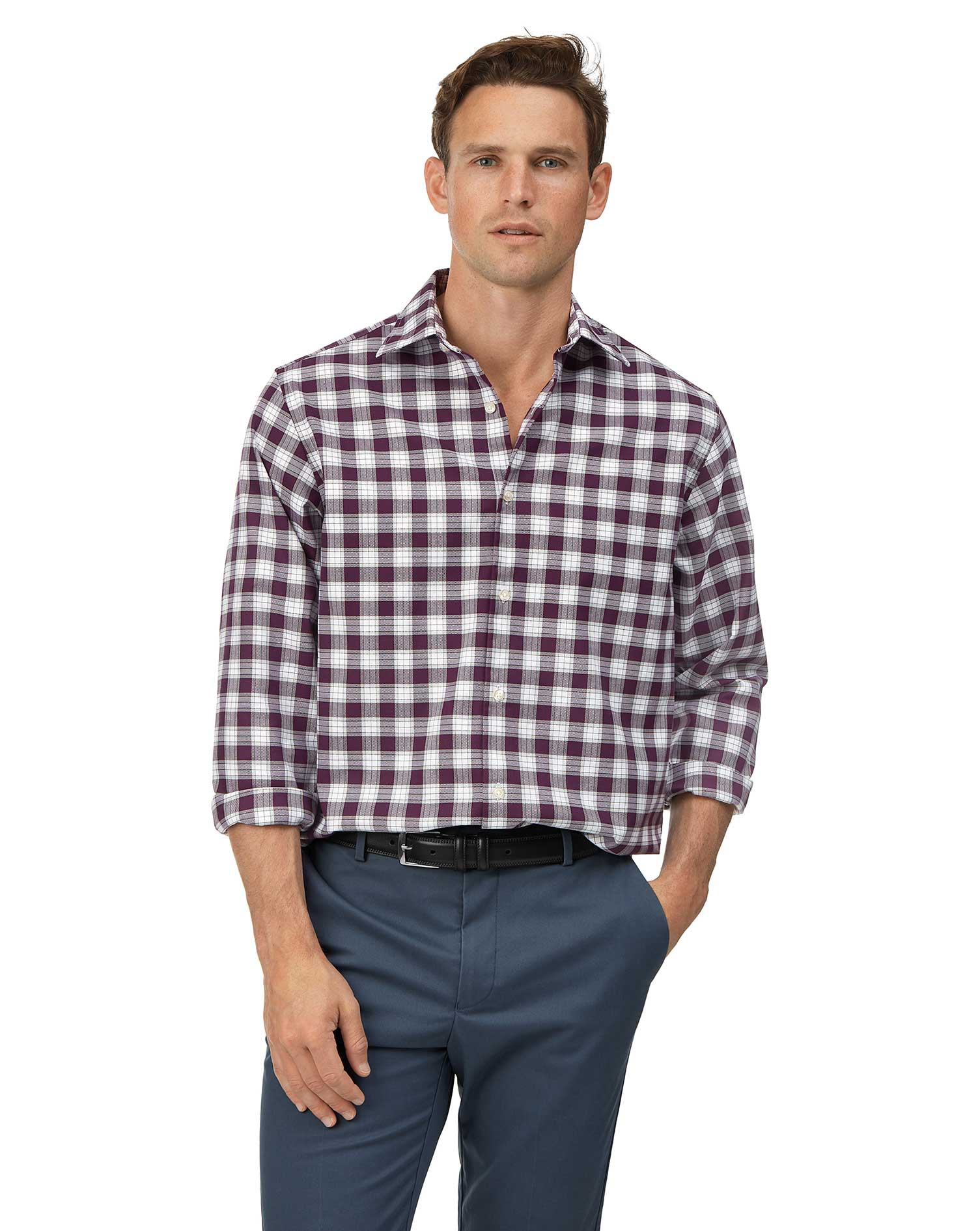 Cotton Classic Fit Soft Washed Non-Iron Stretch Oxford Berry And White Check Shirt
