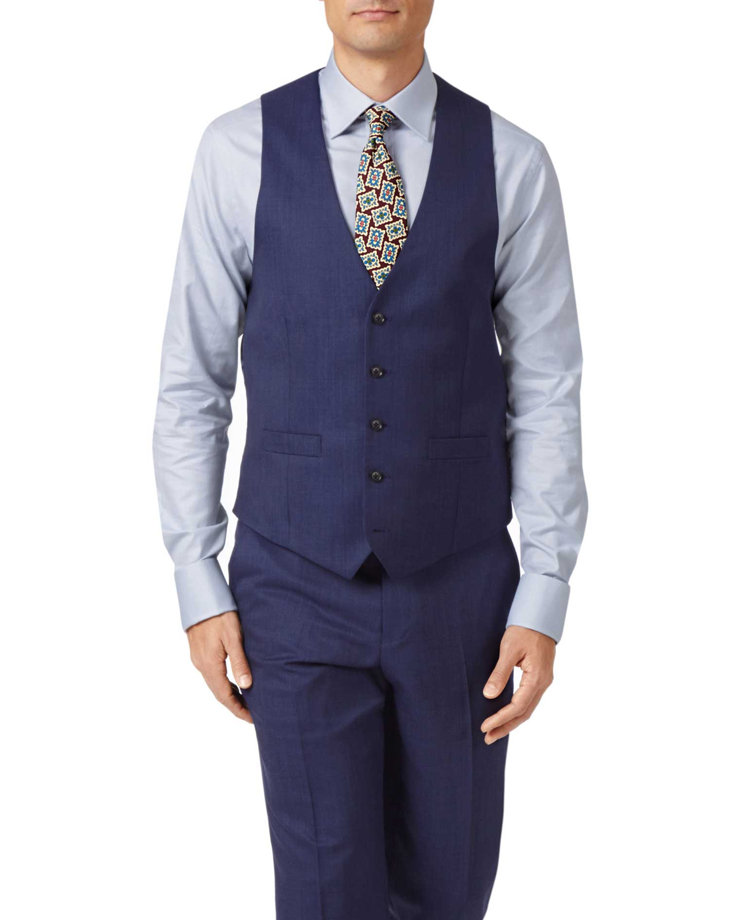 Indigo adjustable fit hairline business suit waistcoat