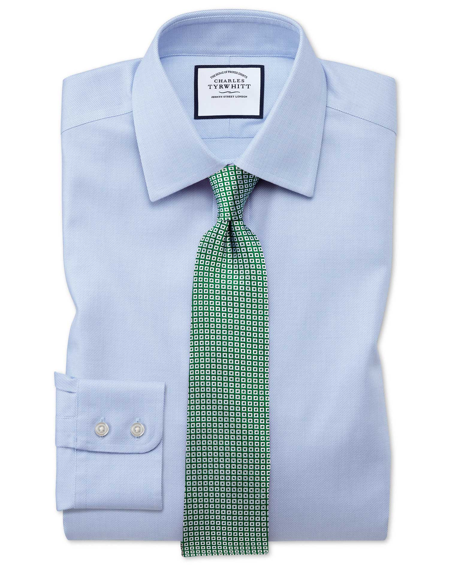 Classic fit non iron step weave sky blue shirt charles for What is a non iron shirt