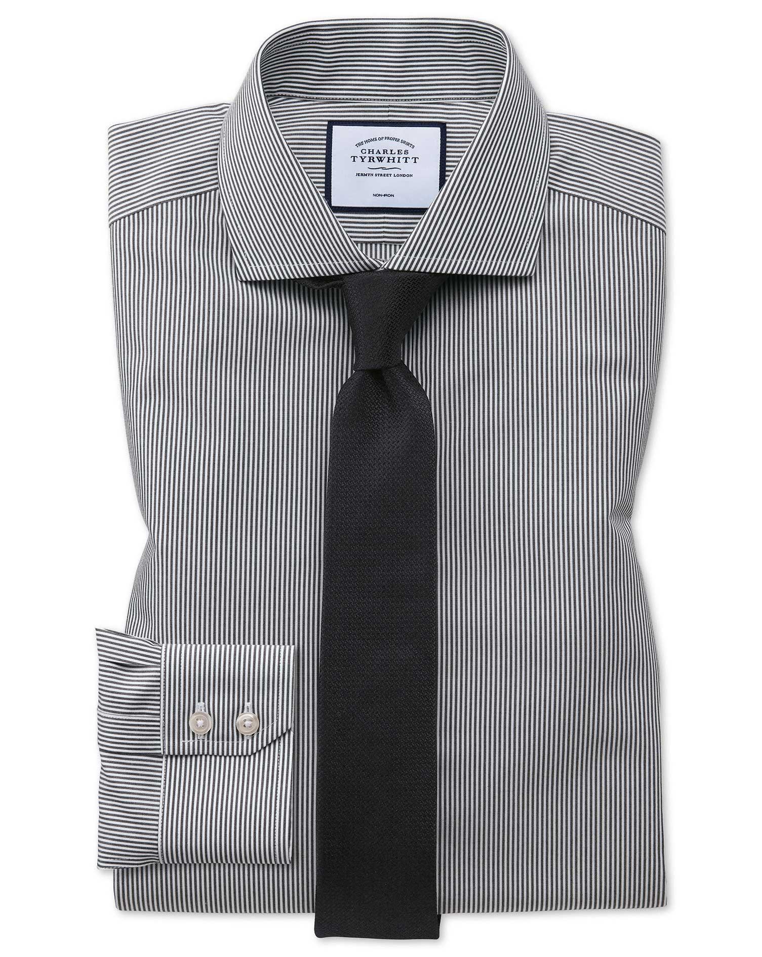 Extra Slim Fit Non-Iron Cutaway Collar Black Bengal Stripe Cotton Formal Shirt Single Cuff Size 15/3