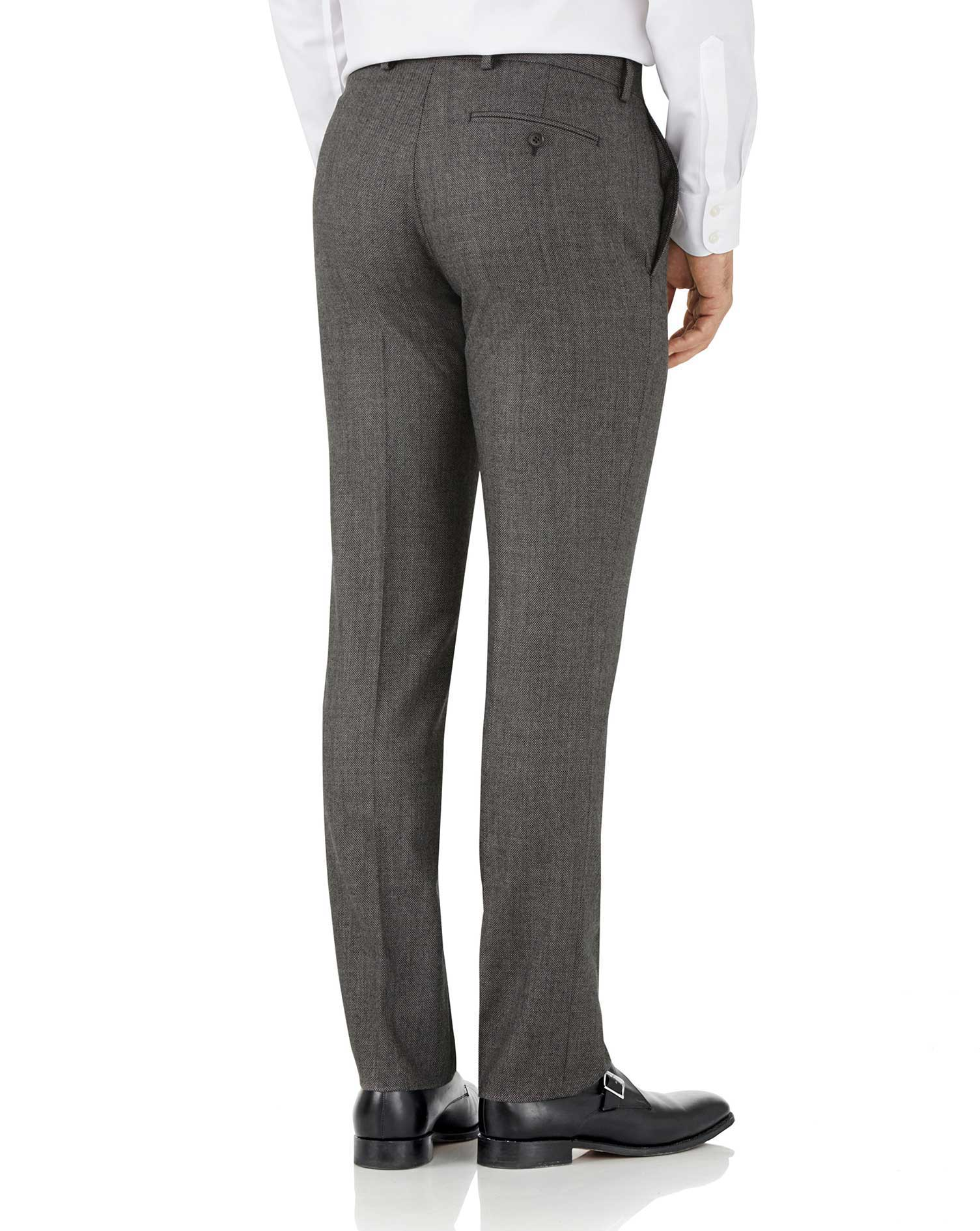 Silver slim fit flannel business suit trousers