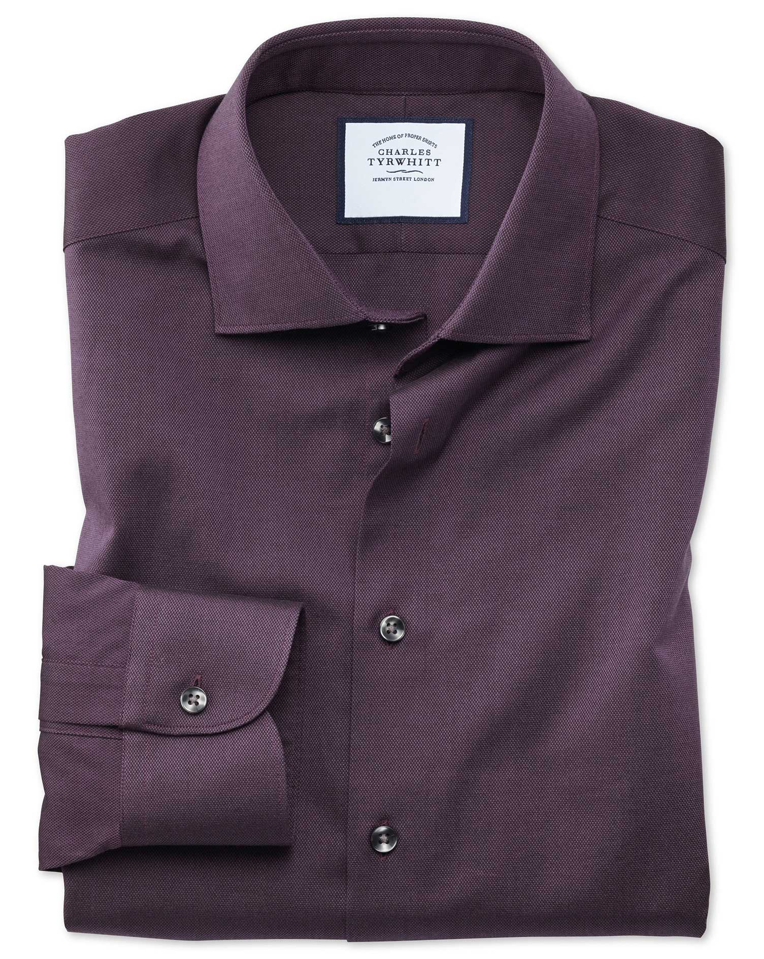 Slim Fit Business Casual Berry Royal Oxford Cotton Formal Shirt Single Cuff Size 17/33 by Charles Ty