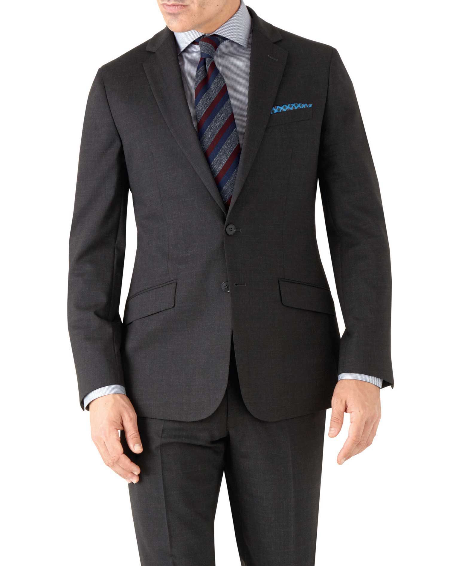Charcoal Slim Fit Performance Suit Wool Stretch Jacket Size 40 Long by Charles Tyrwhitt