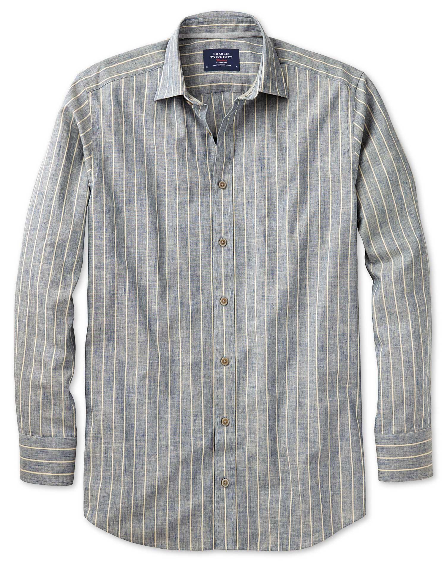 Slim Fit Denim Blue Stripe Textured Cotton Shirt Single Cuff Size XS by Charles Tyrwhitt
