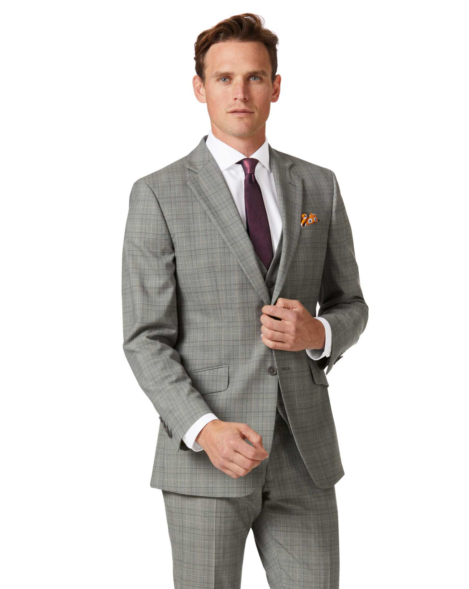 Grey Prince of Wales slim fit Panama business suit jacket