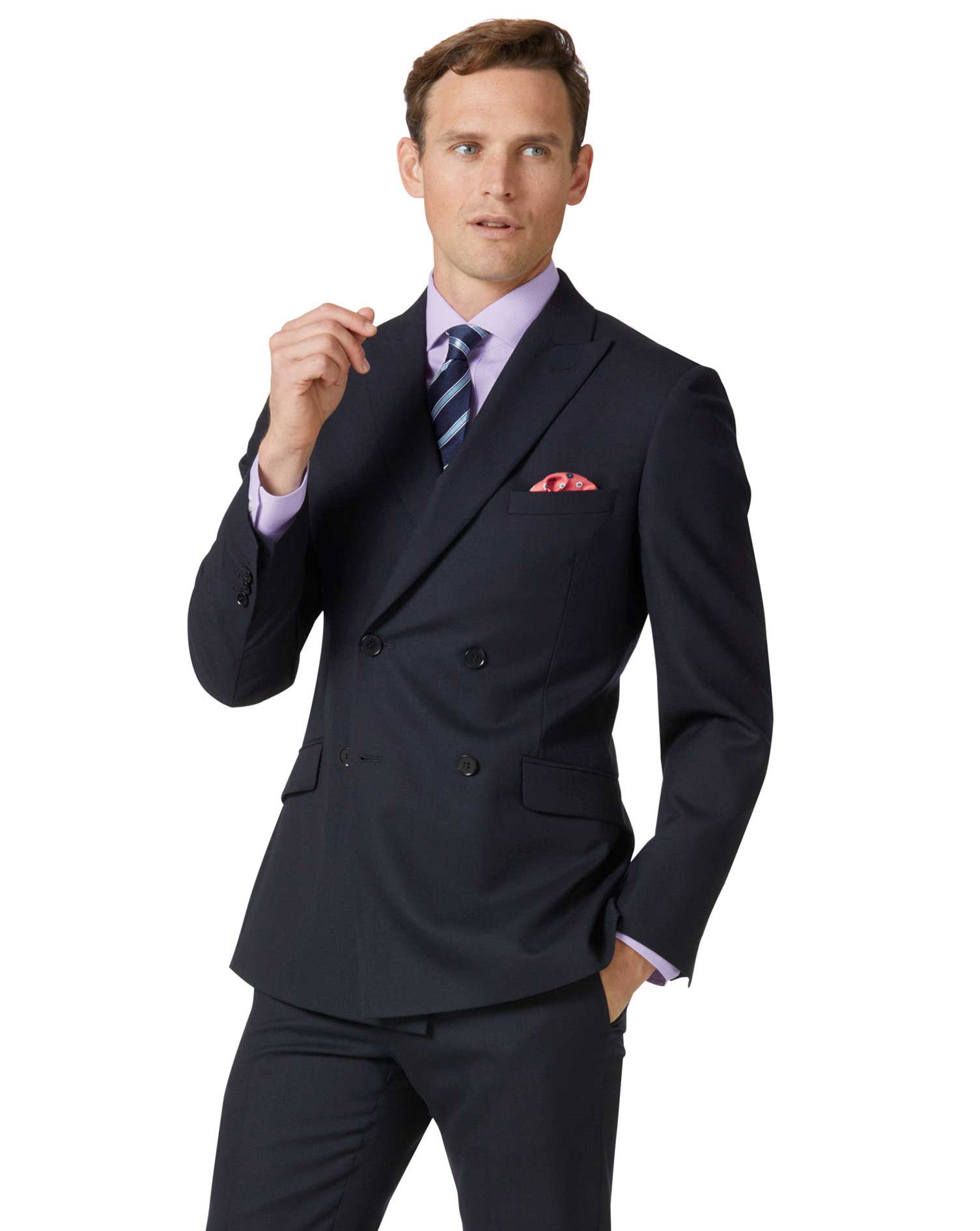 Midnight Blue Double Breasted Slim Fit Merino Business Suit Wool Jacket Size 40 Long by Charles Tyrw