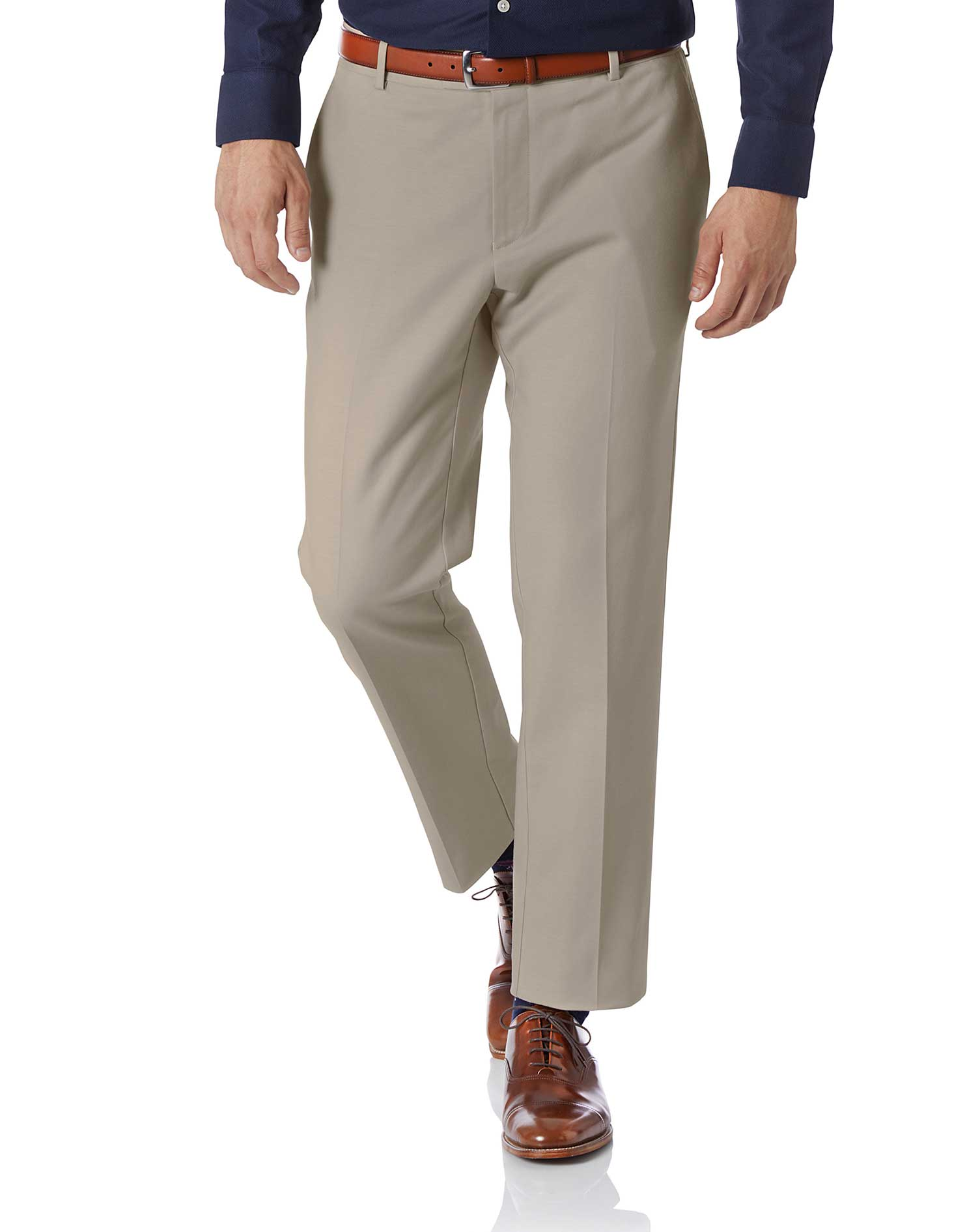 Stone Slim Fit Natural Performance Trouser Size W40 L34 by Charles Tyrwhitt
