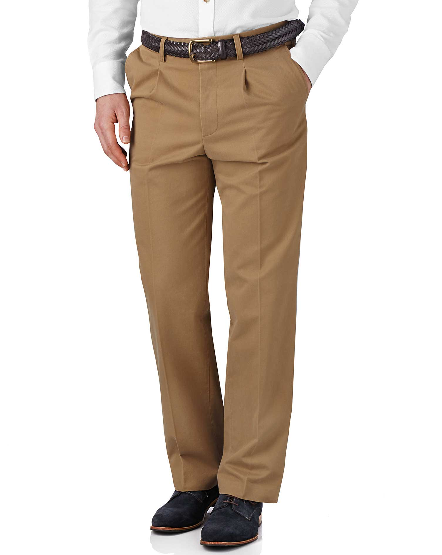 Tan Classic Fit Single Pleat Weekend Cotton Chino Trousers Size W32 L30 by Charles Tyrwhitt