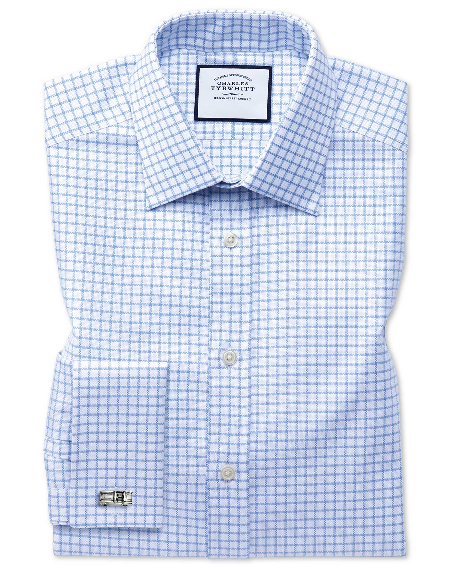 Classic Fit Egyptian Cotton Royal Oxford Sky Blue Check Formal Shirt Double Cuff Size 17.5/35 by Cha