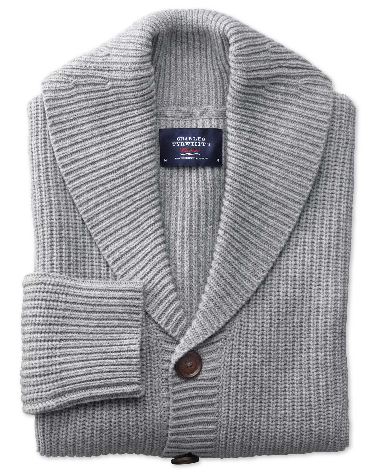 Light Grey Rib Shawl Collar Wool Cardigan Size XXL by Charles Tyrwhitt