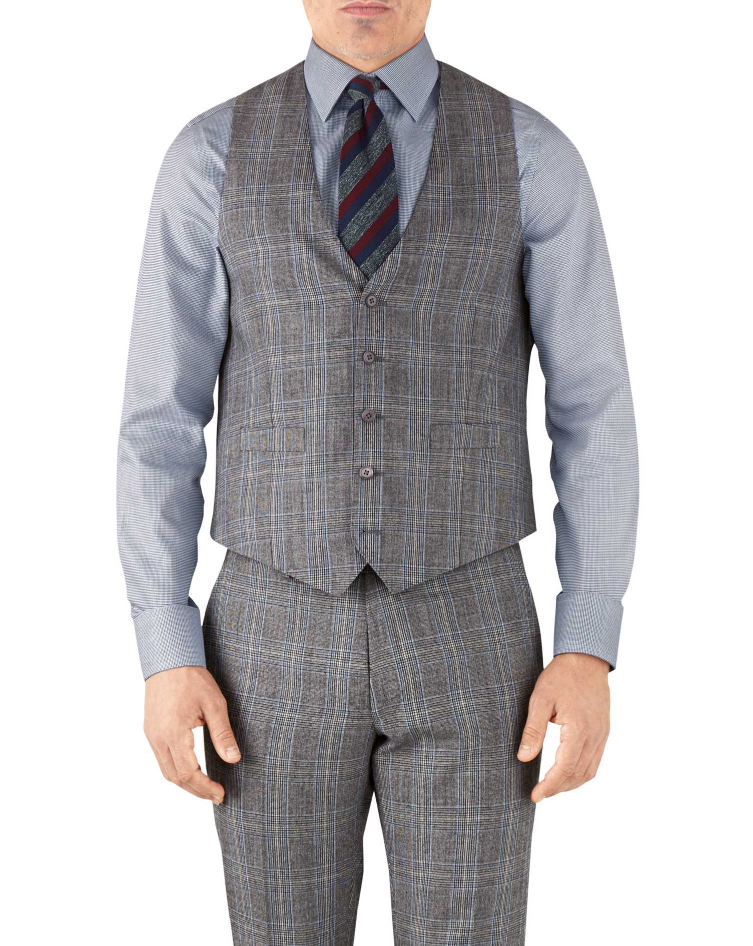 Silver Prince of Wales adjustable fit flannel business suit vest