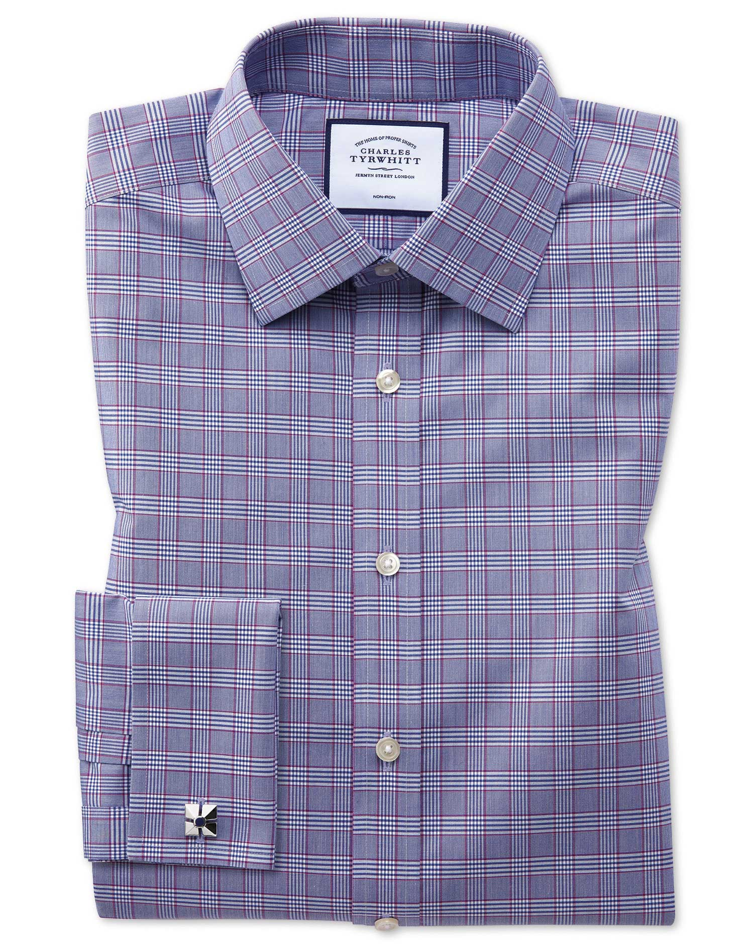 Slim Fit Non-Iron Berry and Navy Prince Of Wales Check Cotton Formal Shirt Single Cuff Size 15.5/35