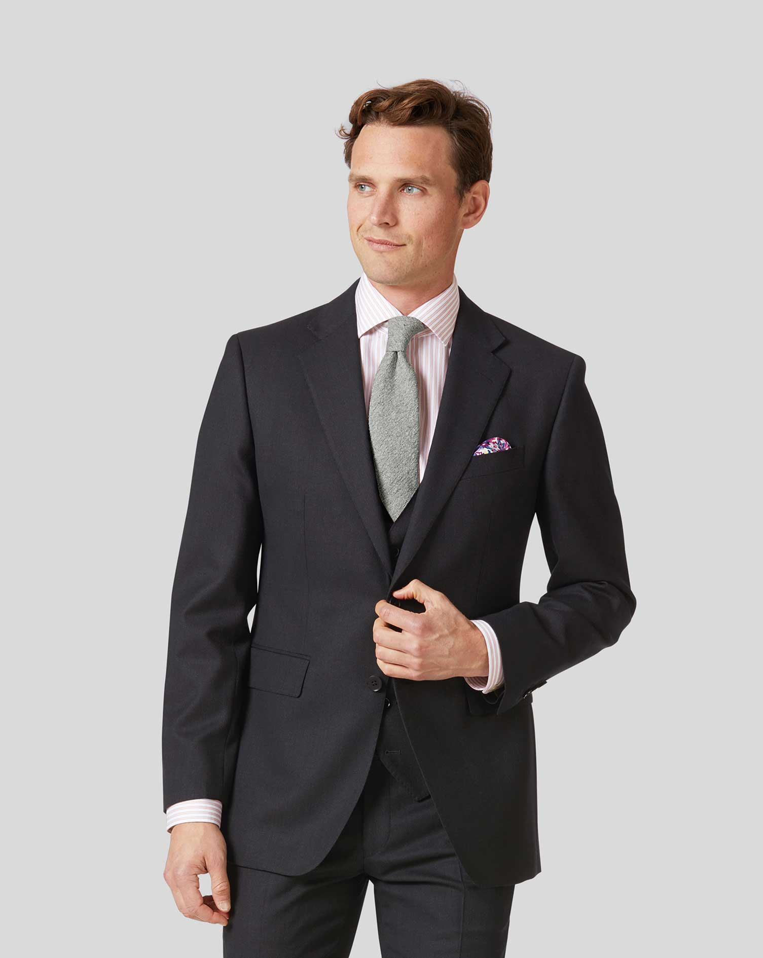 Image of Charles Tyrwhitt Birdseye Travel Suit Wool Jacket - Charcoal Size 36R Regular by Charles Tyrwhitt