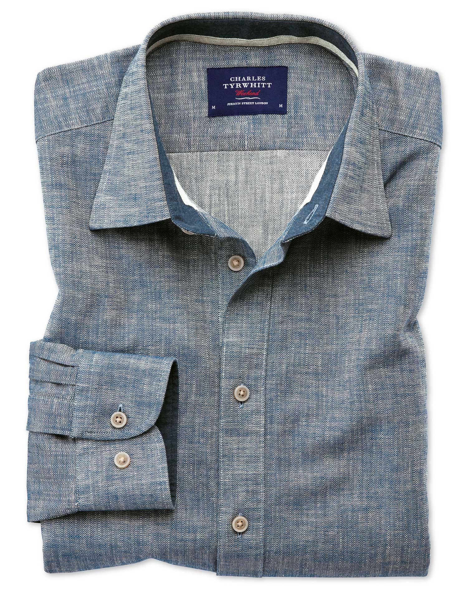Classic Fit Popover Herringbone Denim Blue Cotton Shirt Single Cuff Size XL by Charles Tyrwhitt