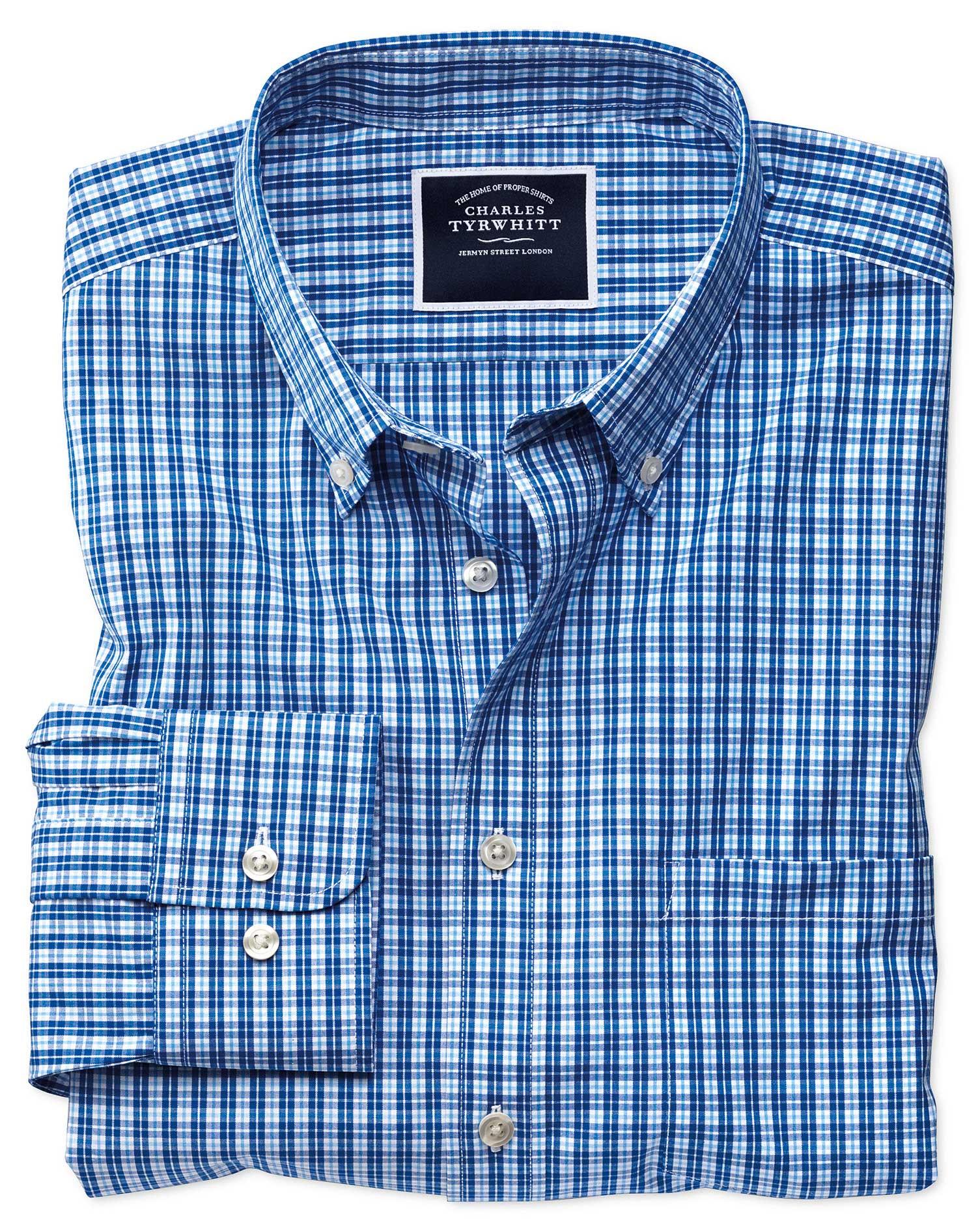 Classic Fit Non-Iron Bright Blue Gingham Cotton Shirt Single Cuff Size XXL by Charles Tyrwhitt