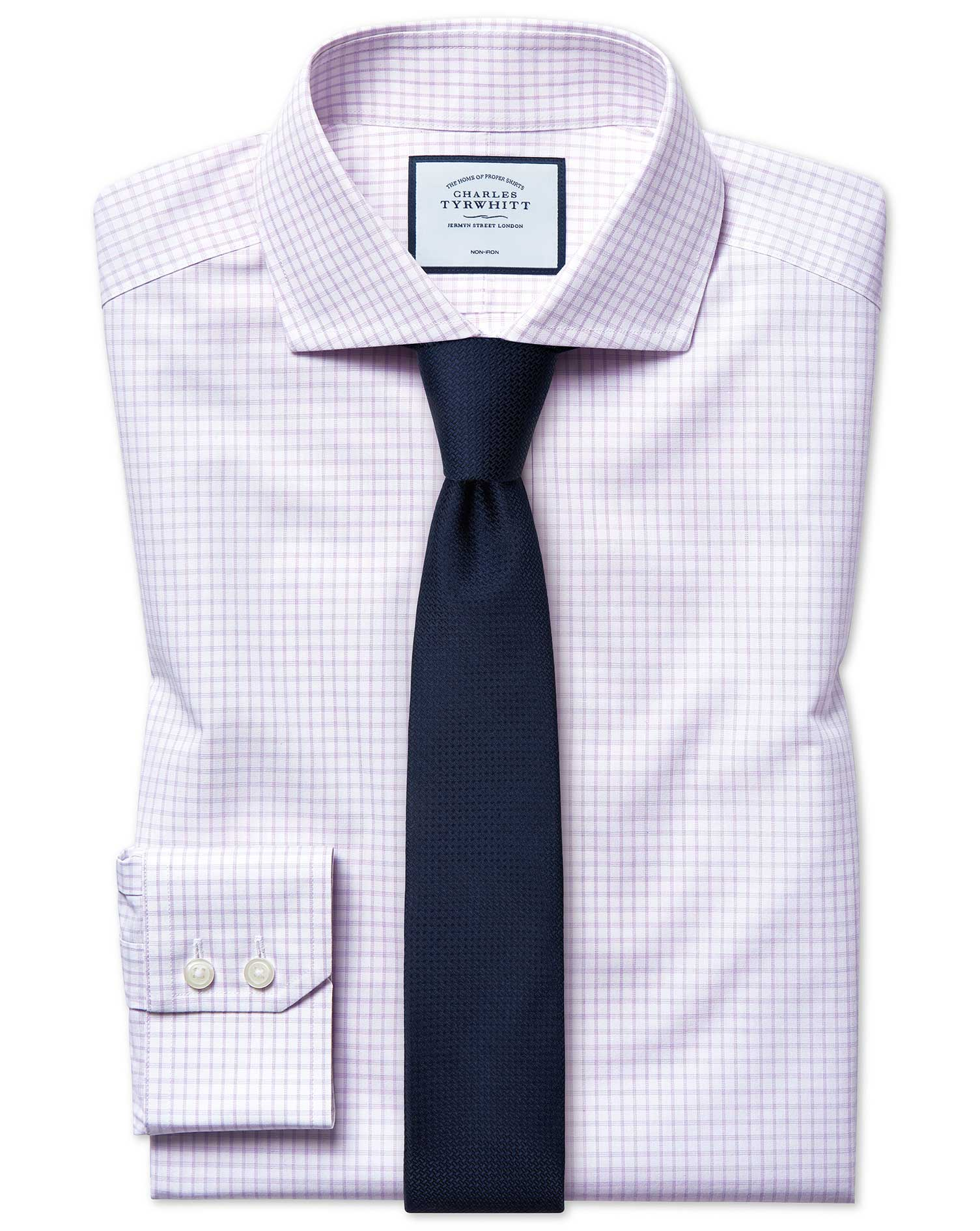 Cotton Extra Slim Fit Non-Iron 4-Way Stretch Lilac Check Shirt