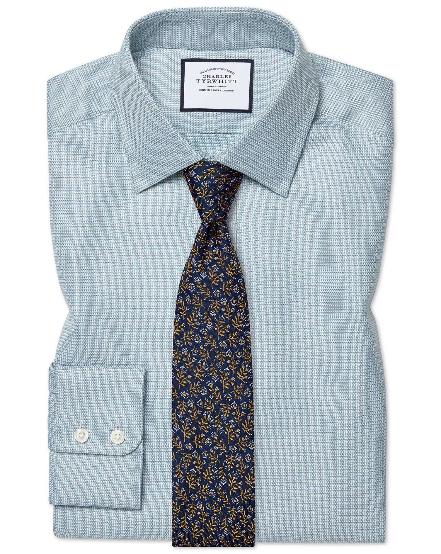 Classic Fit Egyptian Cotton Chevron Teal Formal Shirt Single Cuff Size 17.5/35 by Charles Tyrwhitt