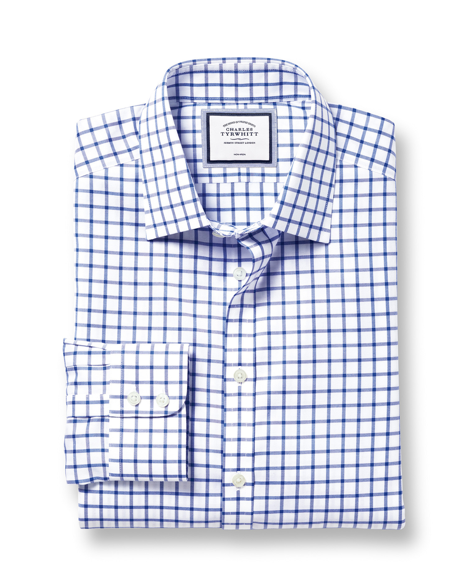Classic Fit Non-Iron Royal Blue Grid Check Twill Cotton Formal Shirt Double Cuff Size 17.5/38 by Cha