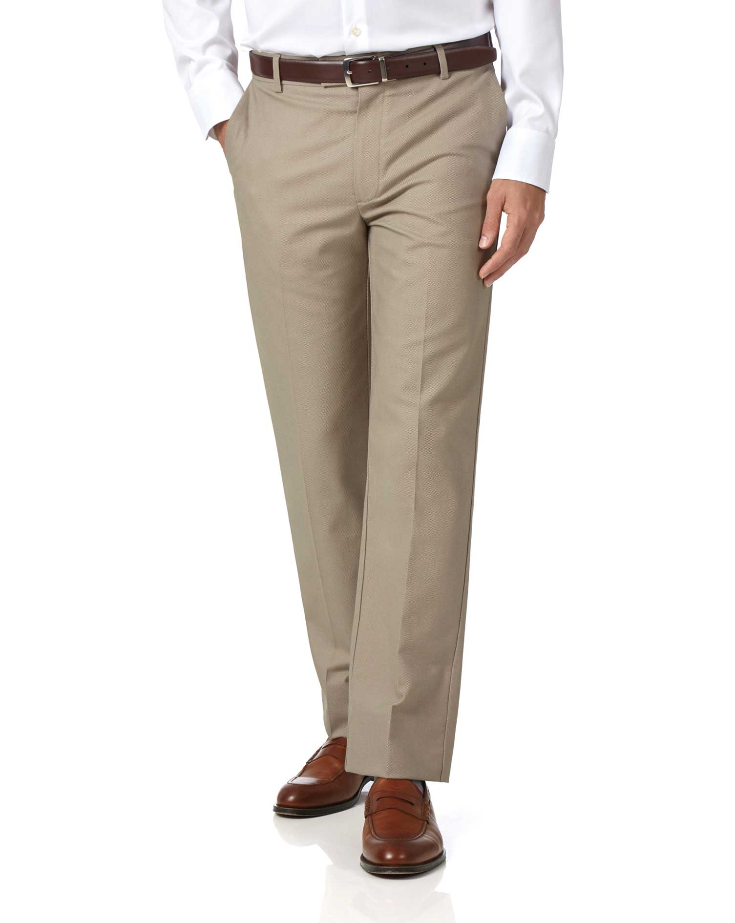 Stone Classic Fit Stretch Non-Iron Trousers Size W40 L34 by Charles Tyrwhitt