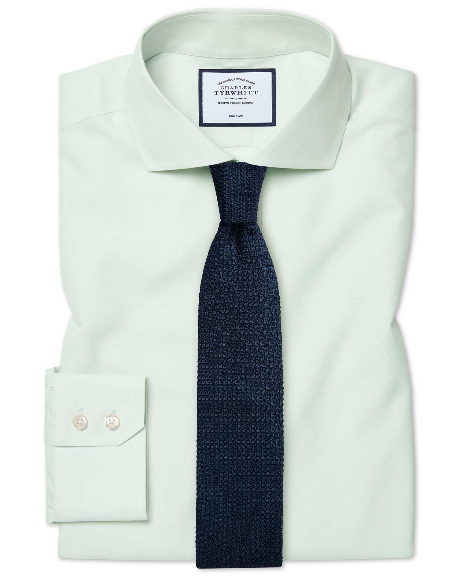 Cotton Extra Slim Fit Cutaway Non-Iron Poplin Green Shirt