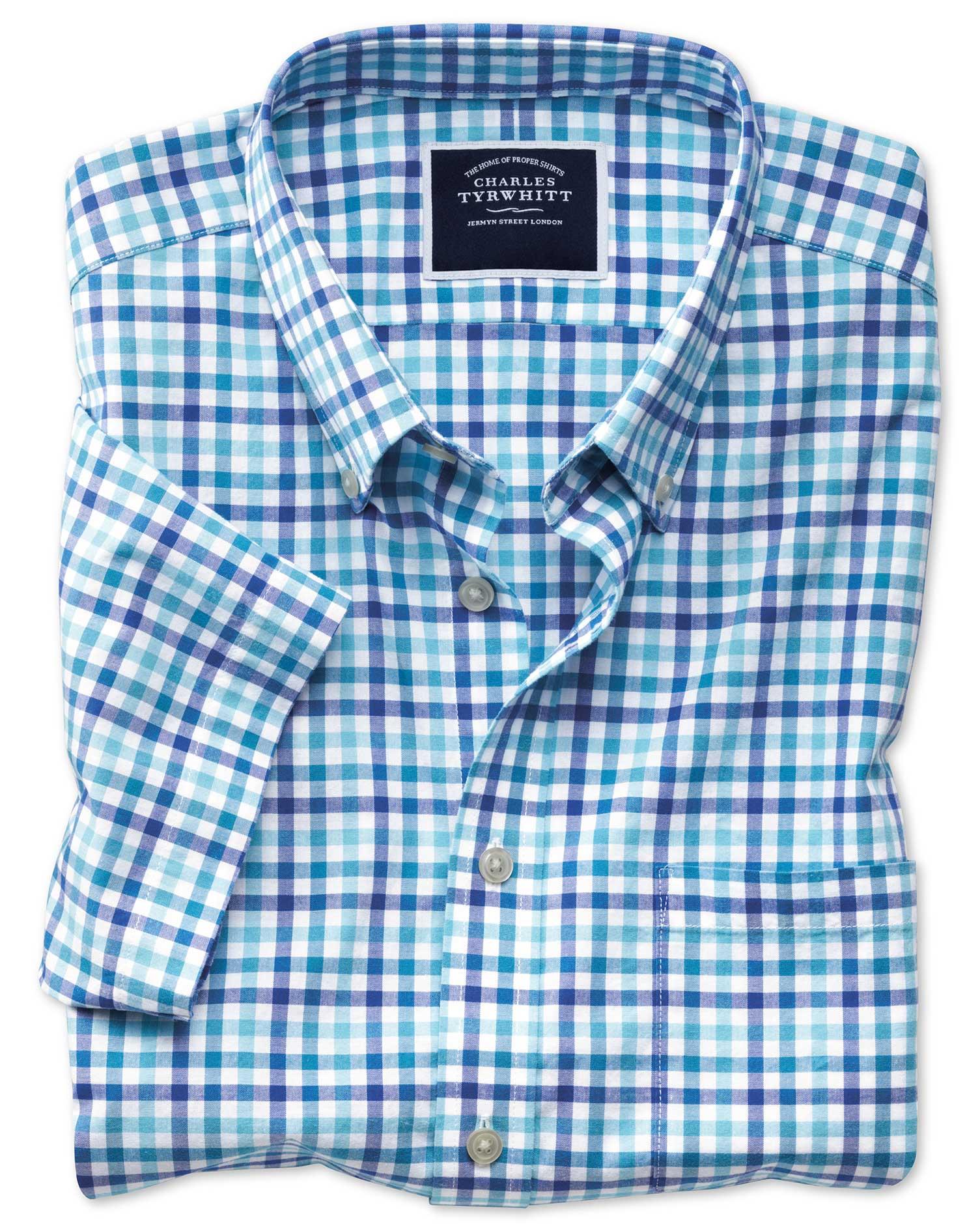 Slim Fit Poplin Short Sleeve Blue Multi Gingham Cotton Shirt Single Cuff Size XS by Charles Tyrwhitt