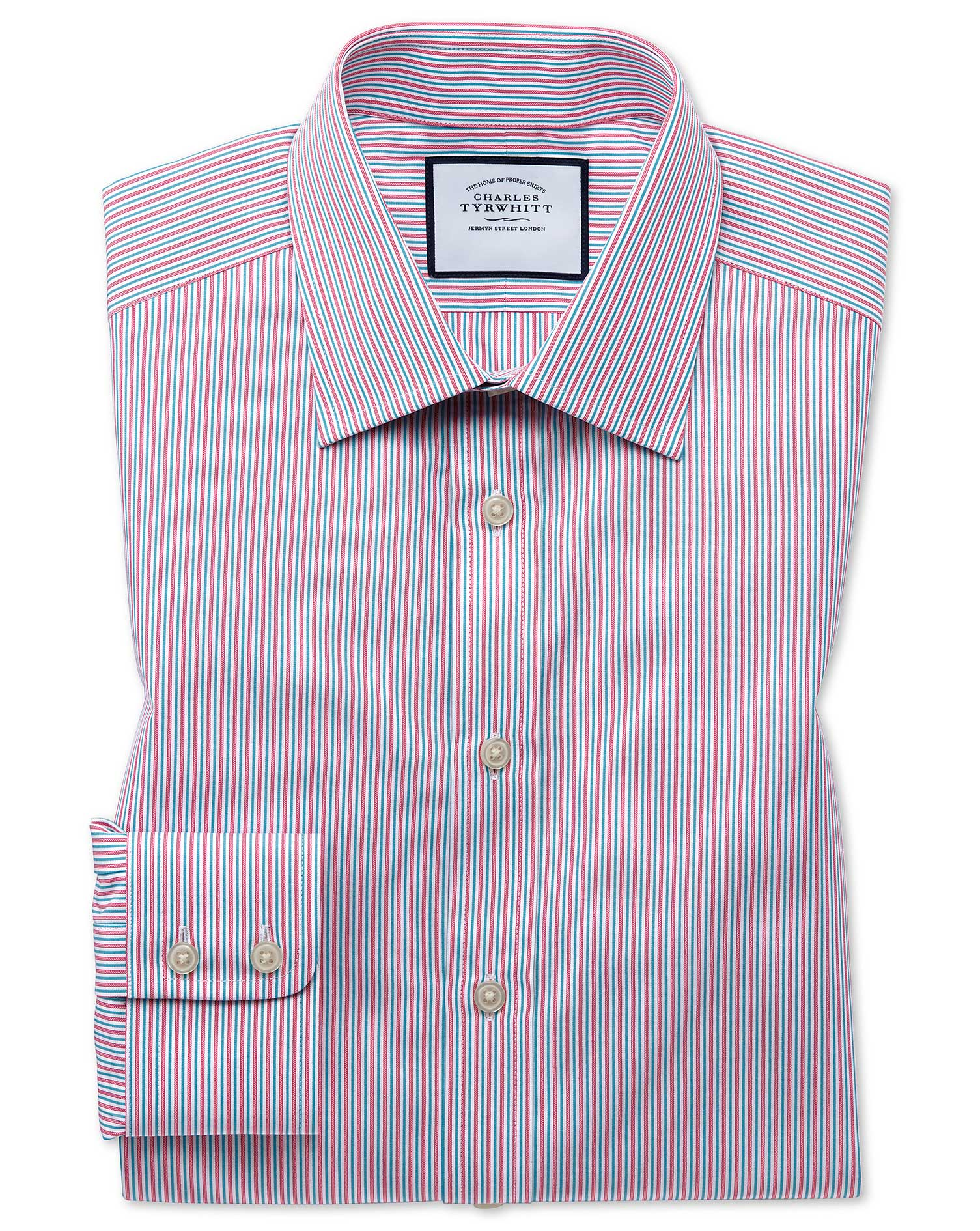 Classic Fit Egyptian Cotton Poplin Pink Multi Stripe Formal Shirt Single Cuff Size 17.5/35 by Charle